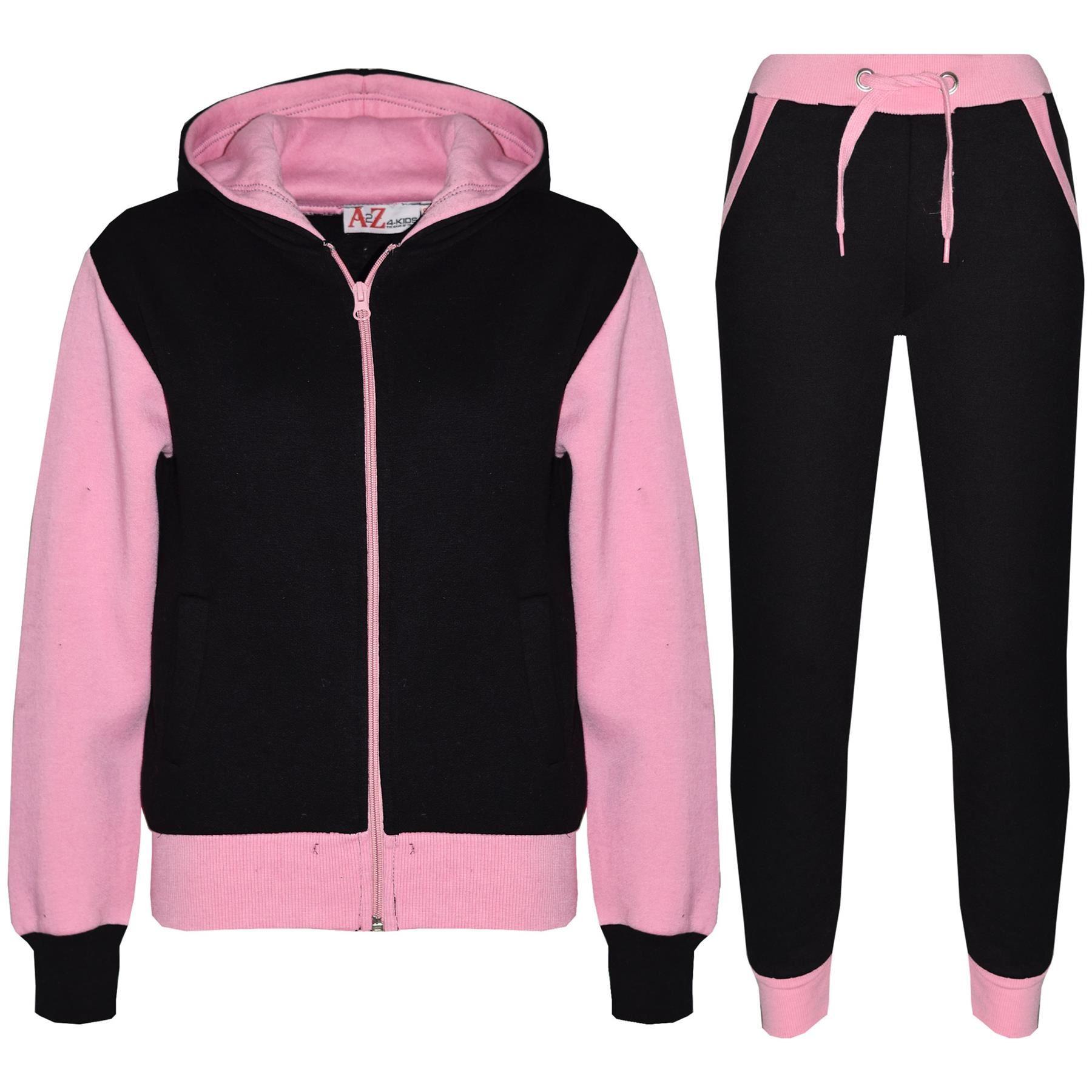 Kids Tracksuit Girls Boys Fleece Hooded Top Bottom Set Jogging Pullover Suit Jogger 7-13Yr