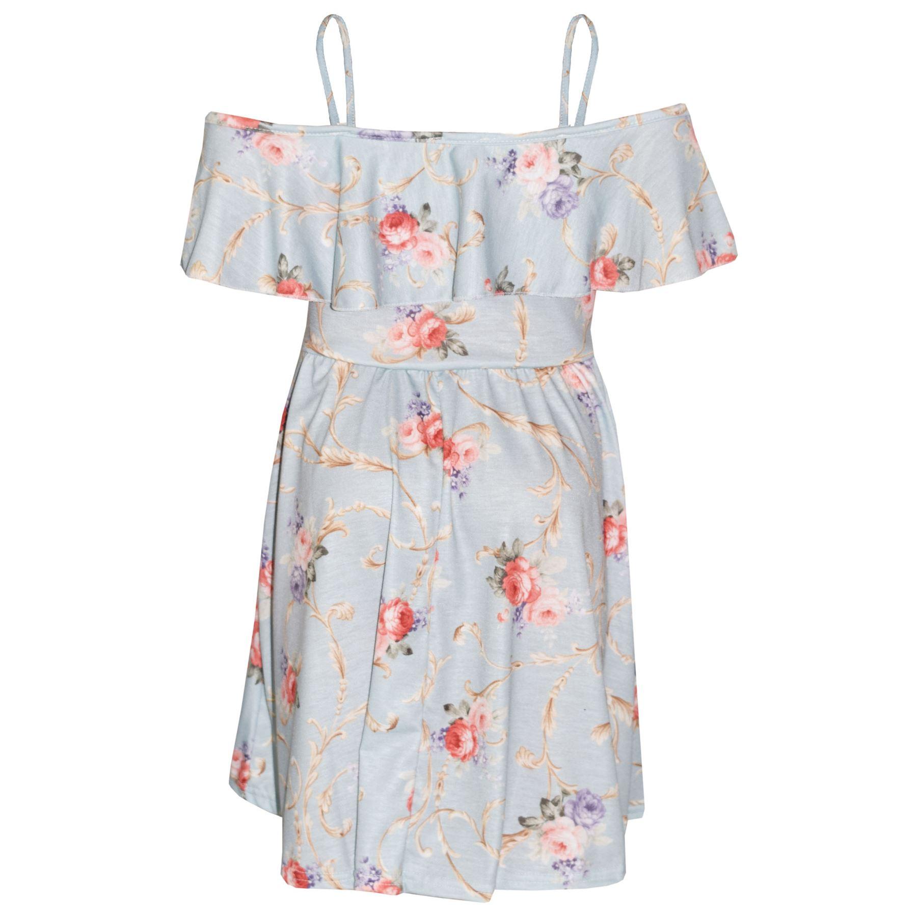 Kids-Girls-Skater-Dress-Floral-Print-Summer-Party-Fashion-Off-Shoulder-Dresses thumbnail 14
