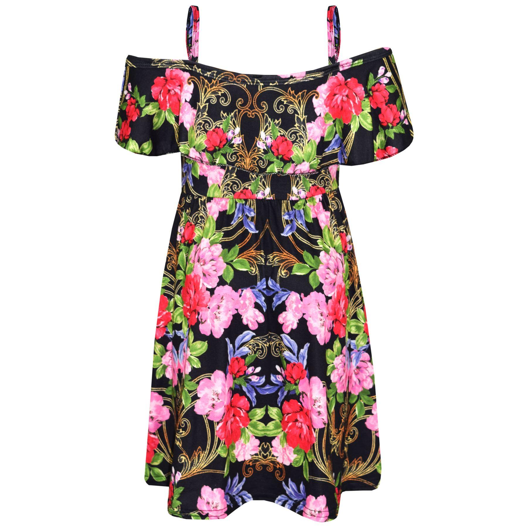 Kids-Girls-Skater-Dress-Floral-Print-Summer-Party-Fashion-Off-Shoulder-Dresses thumbnail 26