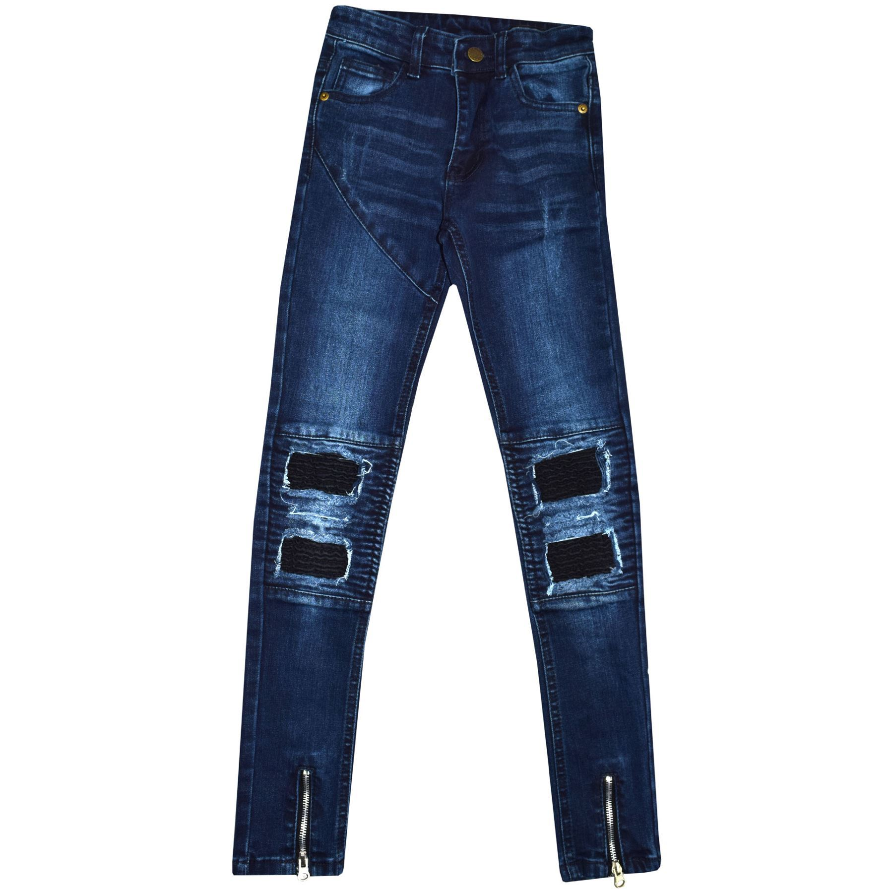 95a6c48759c2 Kids Boys Stretchy Jeans Dark Blue Ripped Denim Skinny Pants ...