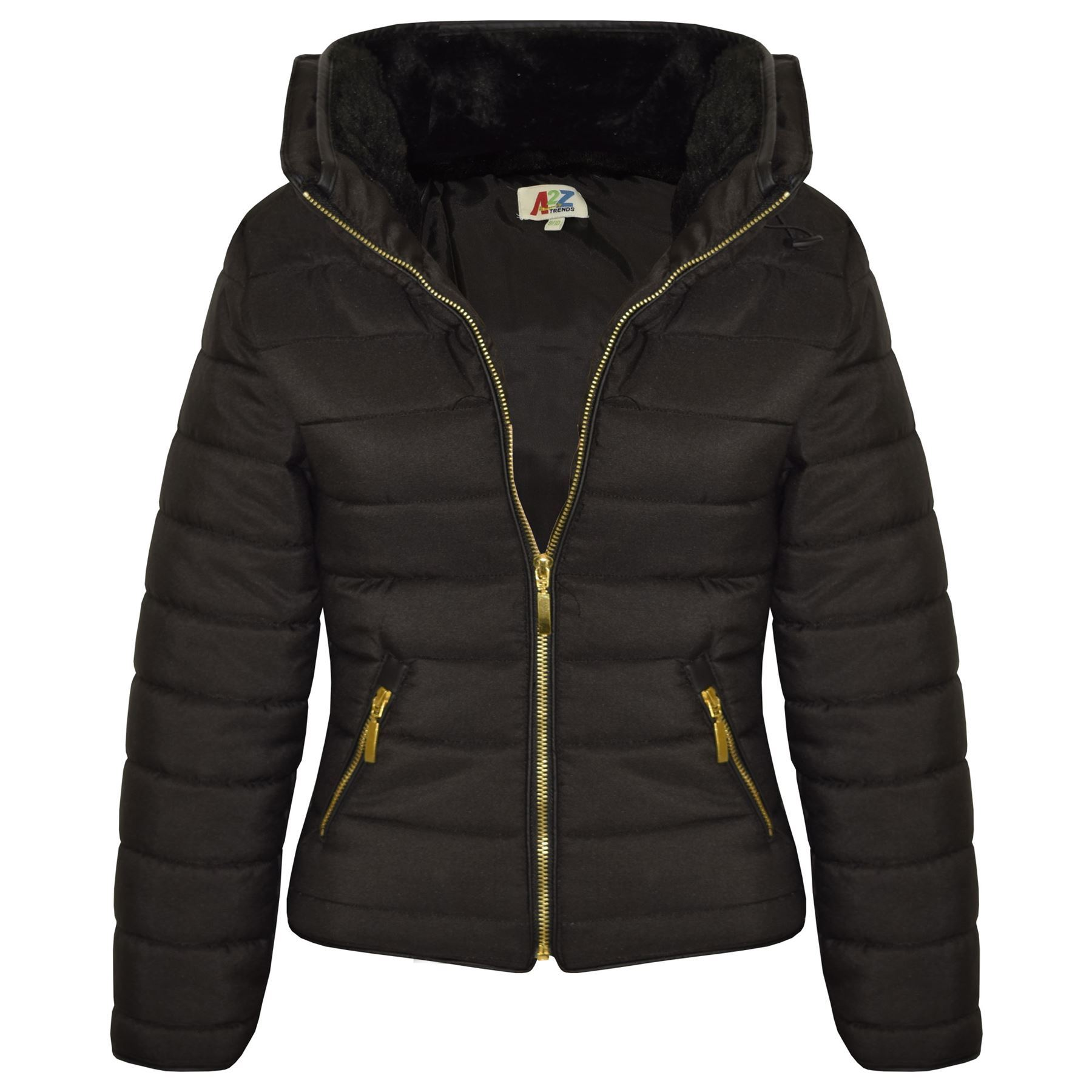 Girls Jacket Kids Padded Black Puffer Bubble Fur Collar ...