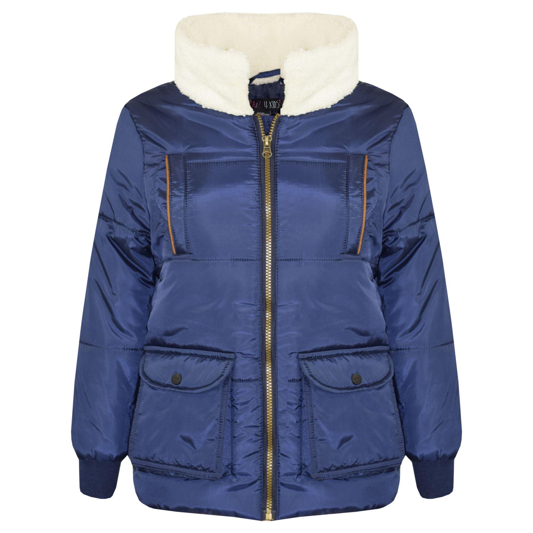 Kids Boys Girls Hooded Parka Jacket Lined School Jackets Outwear Coat 5-12 Years