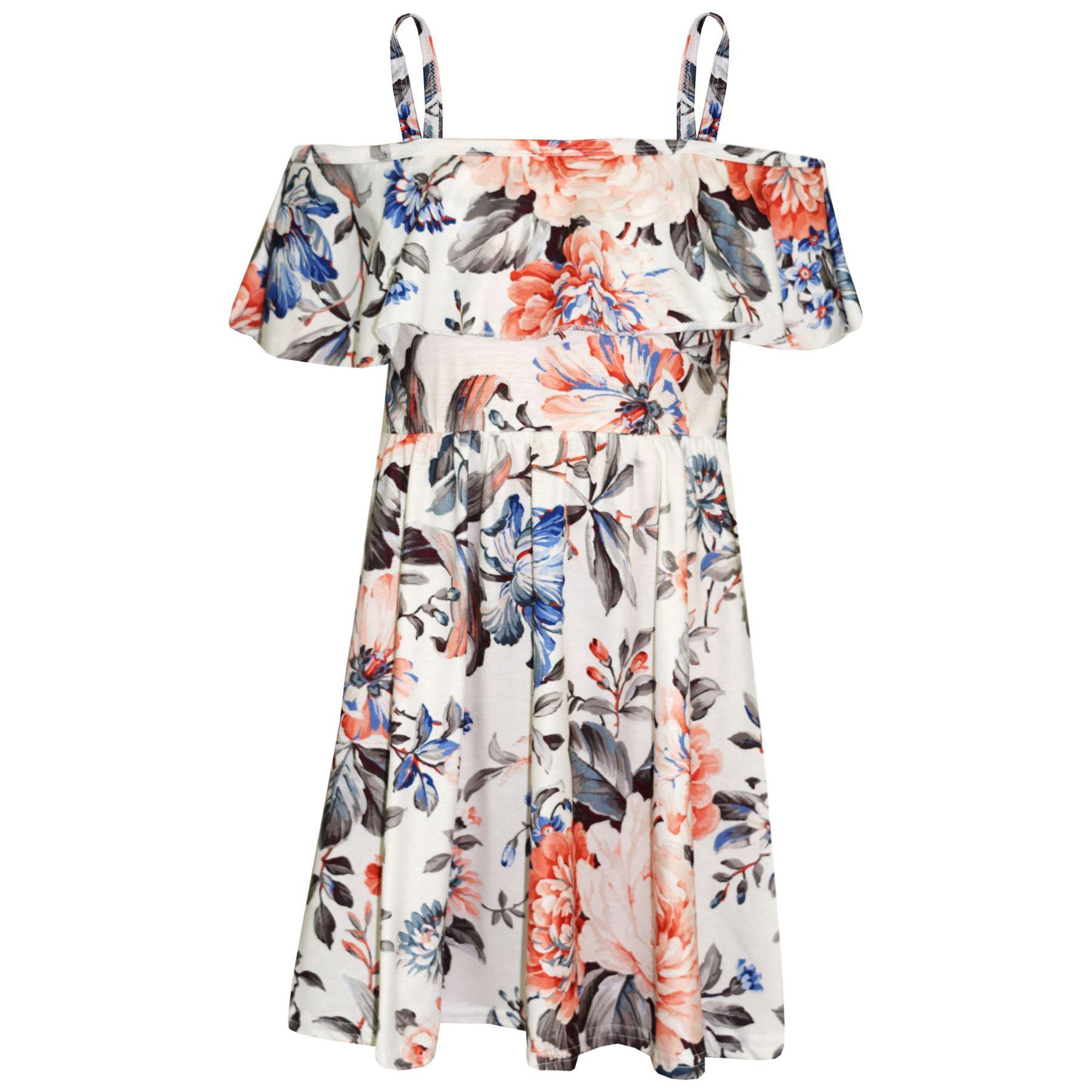 Kids-Girls-Skater-Dress-Floral-Print-Summer-Party-Fashion-Off-Shoulder-Dresses thumbnail 24