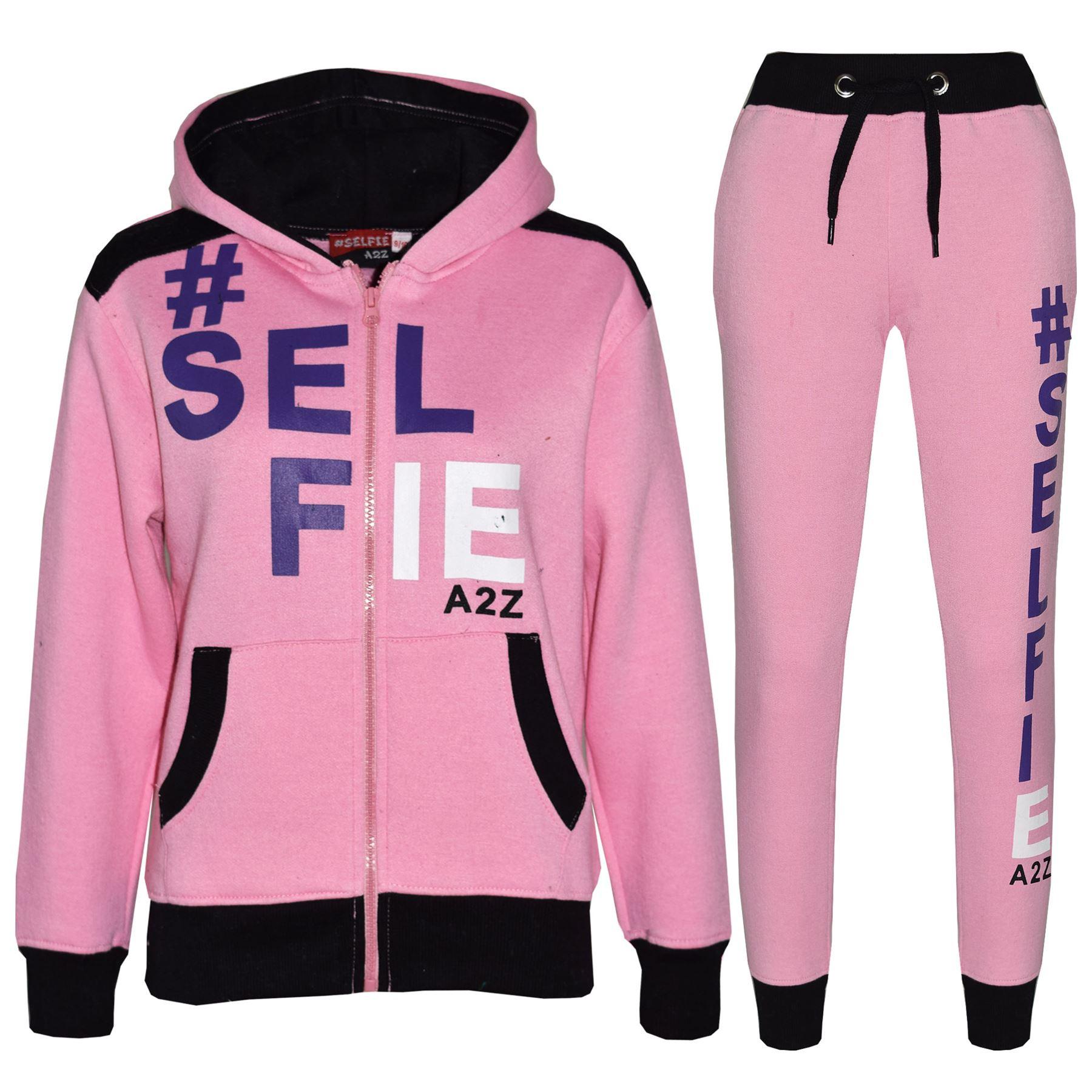 Kids Tracksuit Girls Designer's #Selfie Jogging Suit Hoodie Top Bottom 7-13 Year