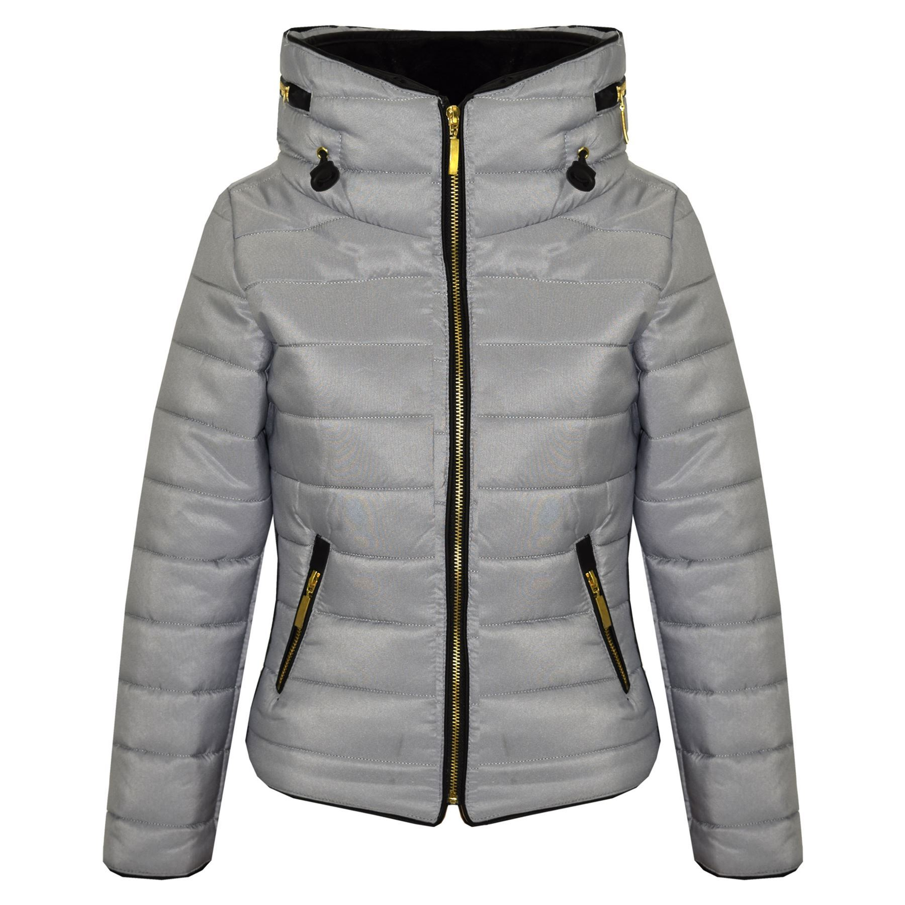 05841eb4de99 Girls Jacket Kids Padded Puffer Bubble Faux Fur Collar Quilted Warm ...