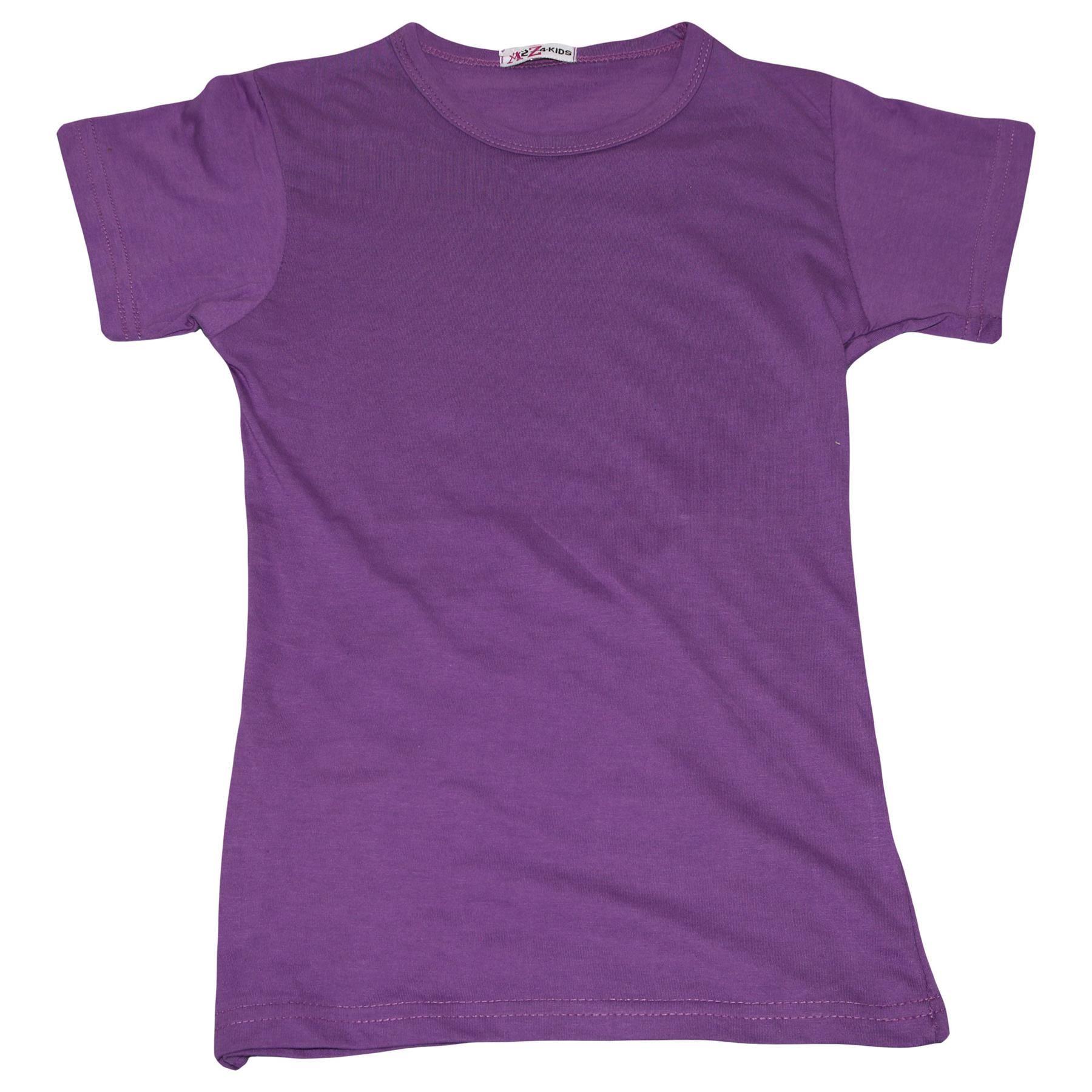 Kids-Girls-T-Shirts-Designer-100-Cotton-Plain-School-T-Shirt-Top-New-Age-3-13Yr thumbnail 20