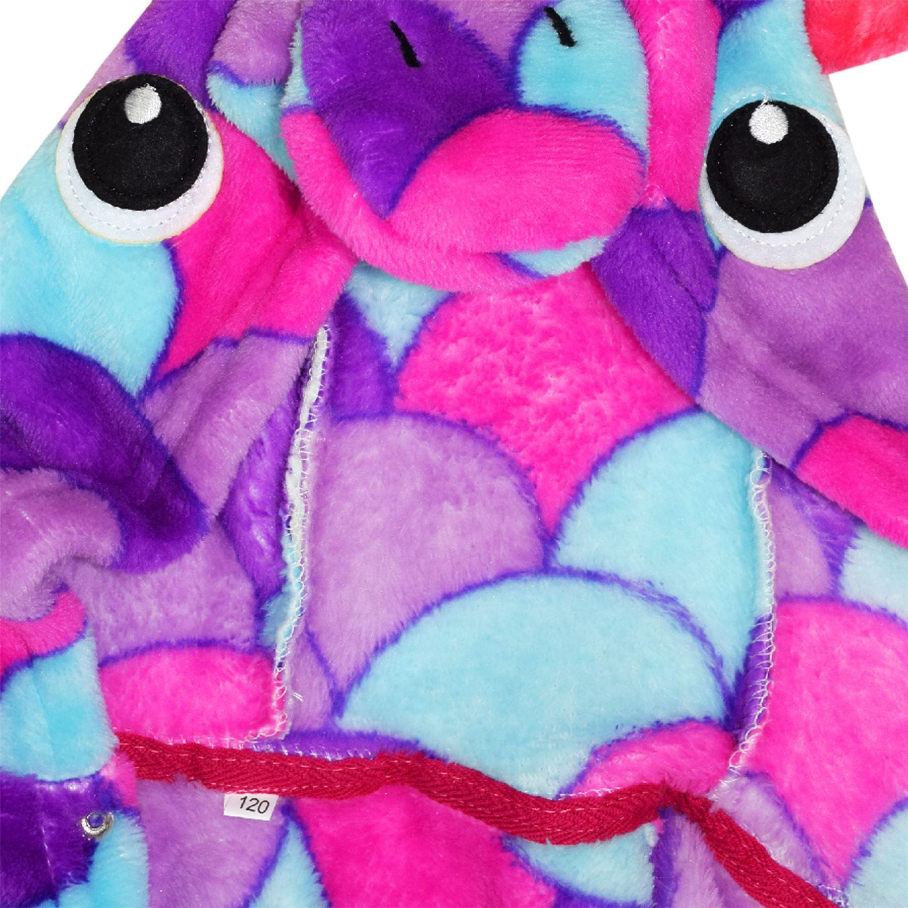 Girls Bathrobe 3D Animal Unicorn Purple Scales Fleece Dressing Gown Lounge Wear