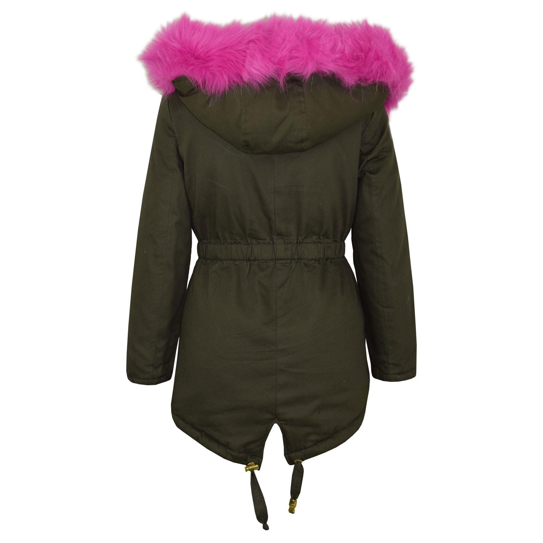 Kids Hooded Jacket Girls Faux Fur Parka School Jackets ...