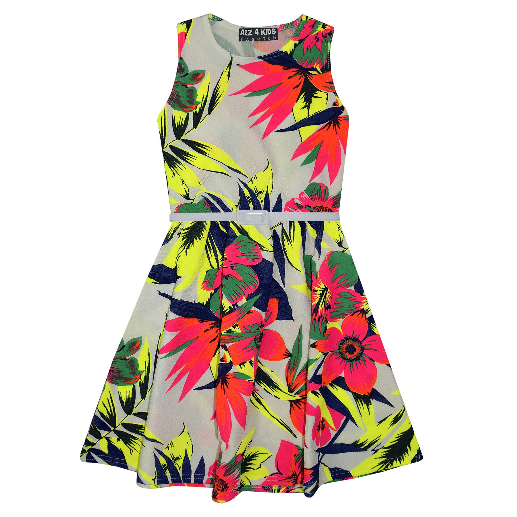 Filles-robe-patineuse-enfants-fluo-tropical-print-summer-party-robes-age-7-13-ans