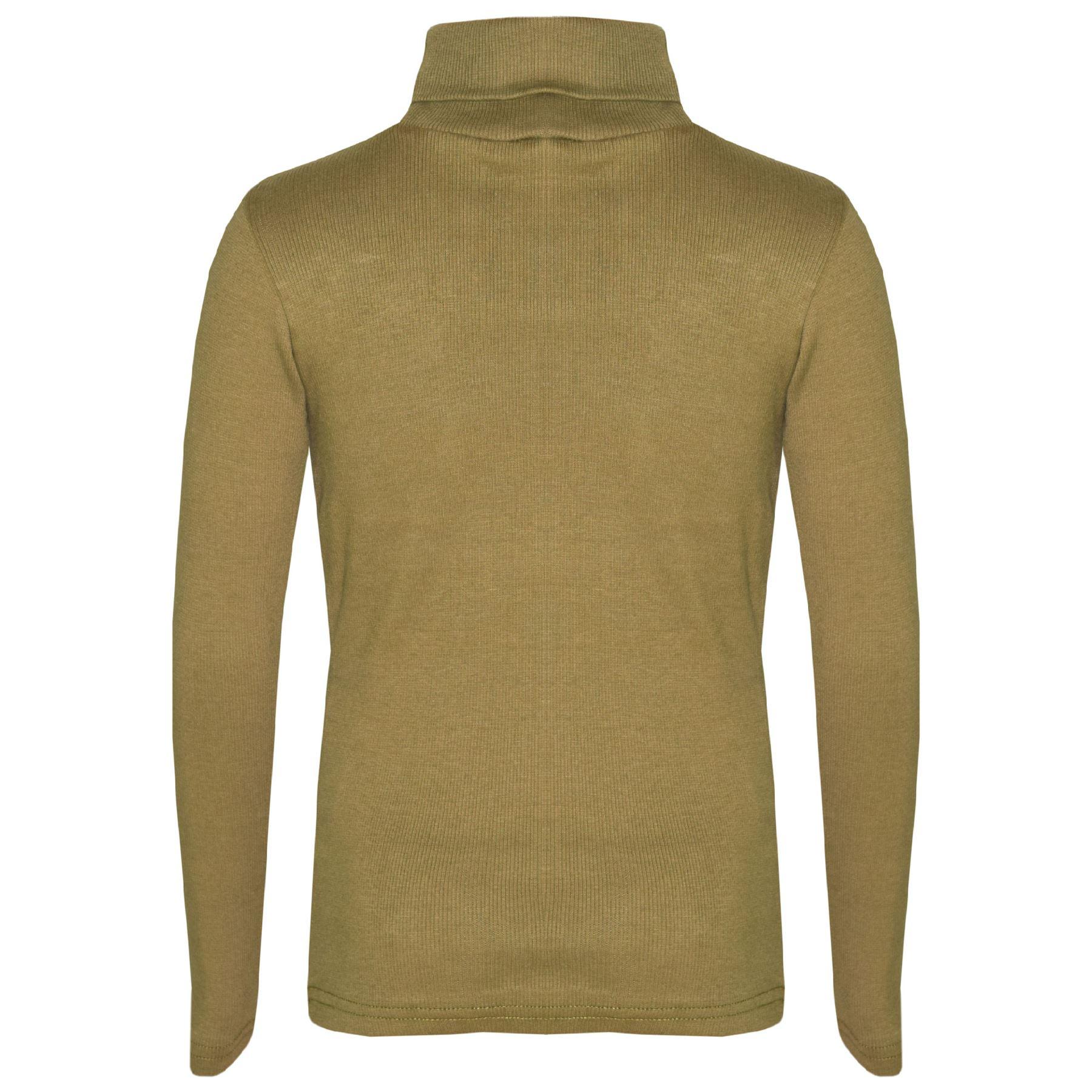 Enfants-Filles-Col-Polo-T-Shirt-Coton-Epais-Pull-a-Roule-Haut-Manches-Longues