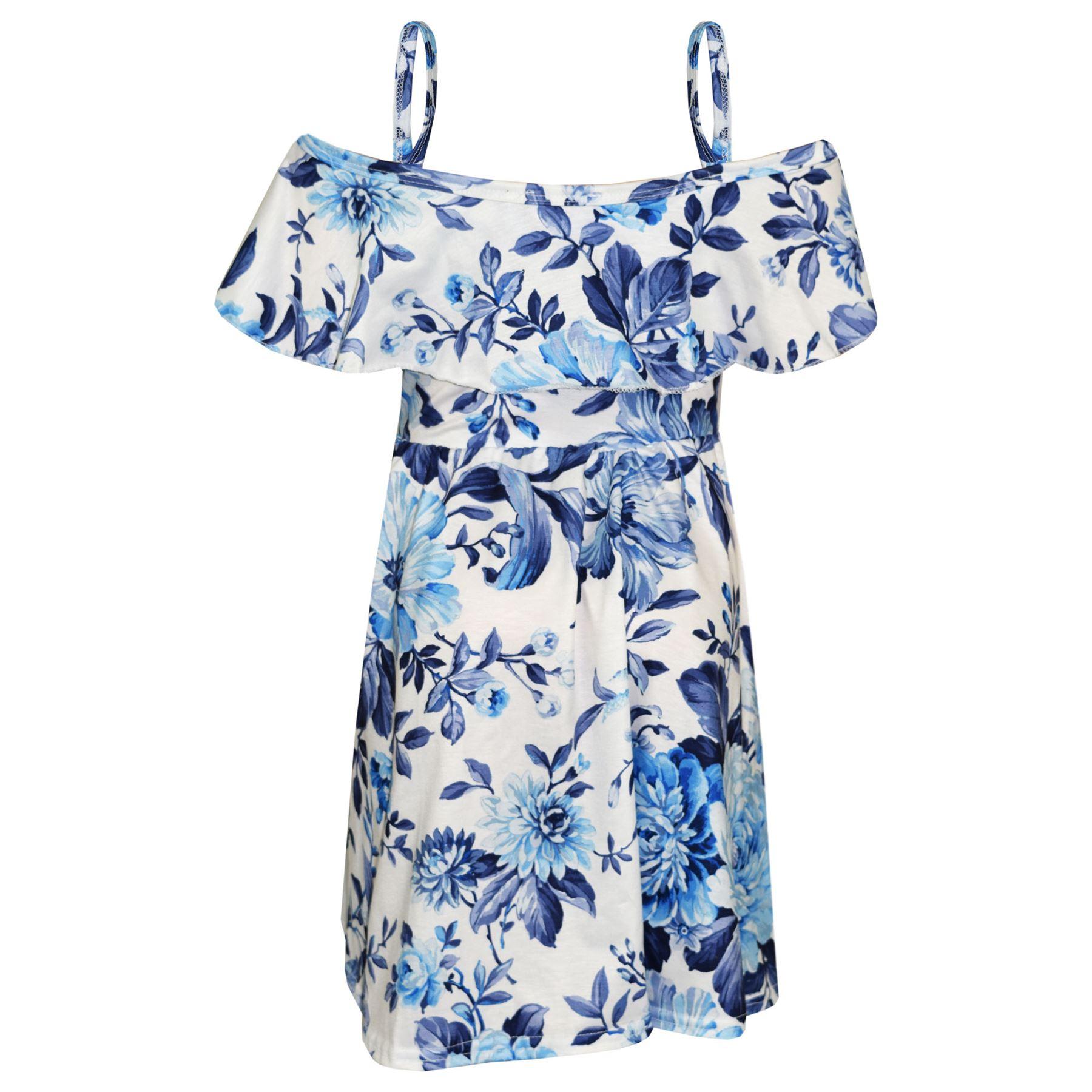 Kids-Girls-Skater-Dress-Floral-Print-Summer-Party-Fashion-Off-Shoulder-Dresses thumbnail 6