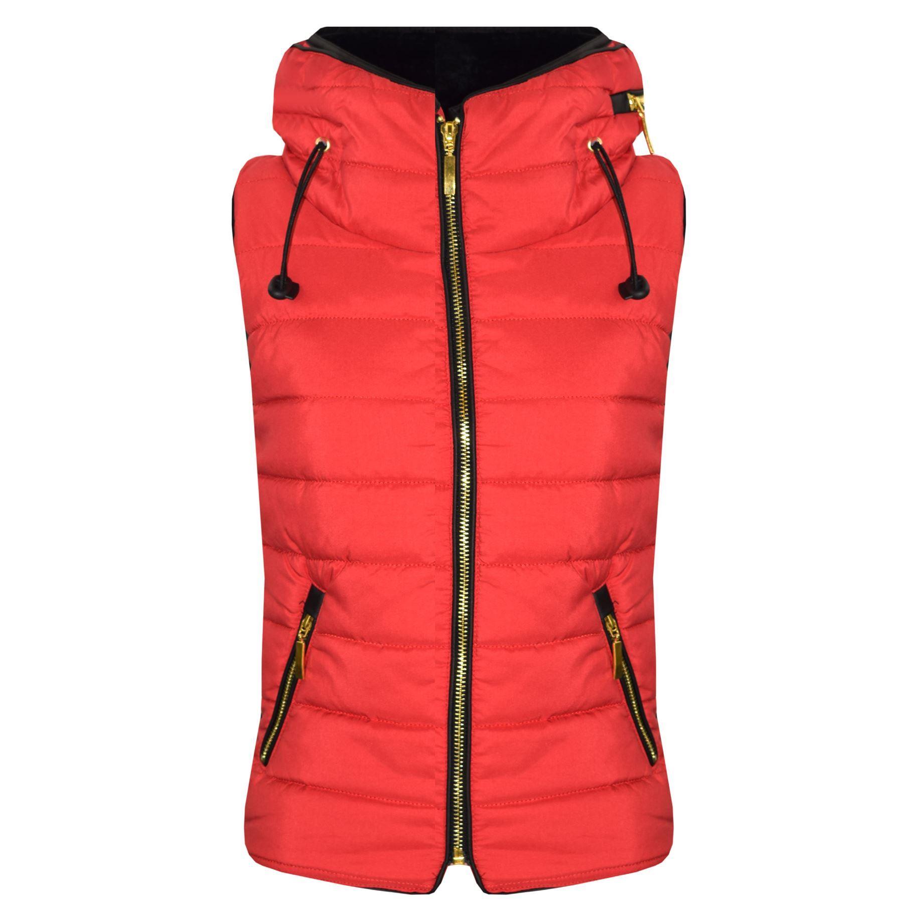 Enfants-Filles-Garcons-Rouge-Gilet-bulle-sans-manches-a-capuche-gilets-Corps-Plus-chaud-vestes