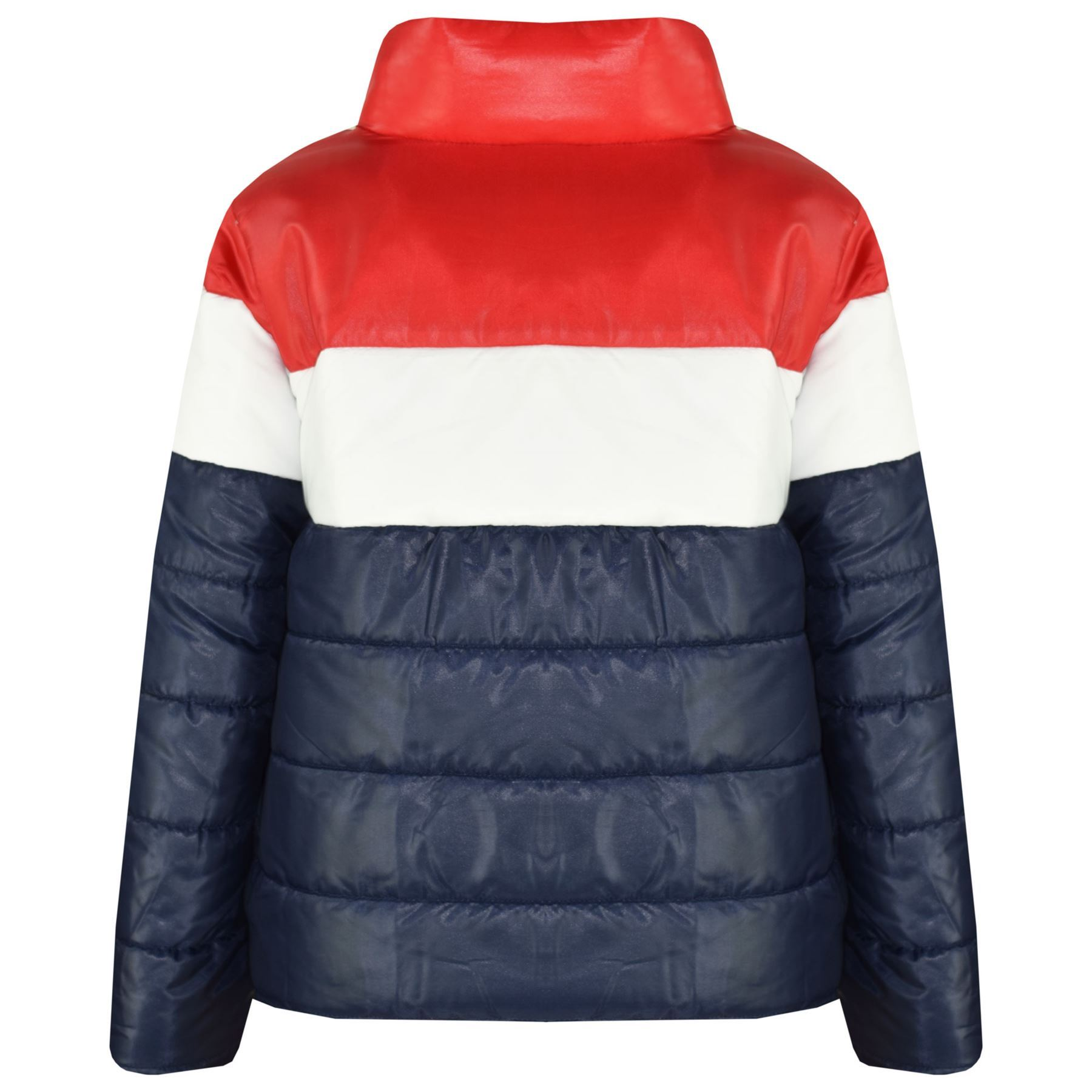 120c253f9 Details about Kids Girls Boys Designer Contrast Panel Hooded Jackets Padded  Quilted Warm Coats