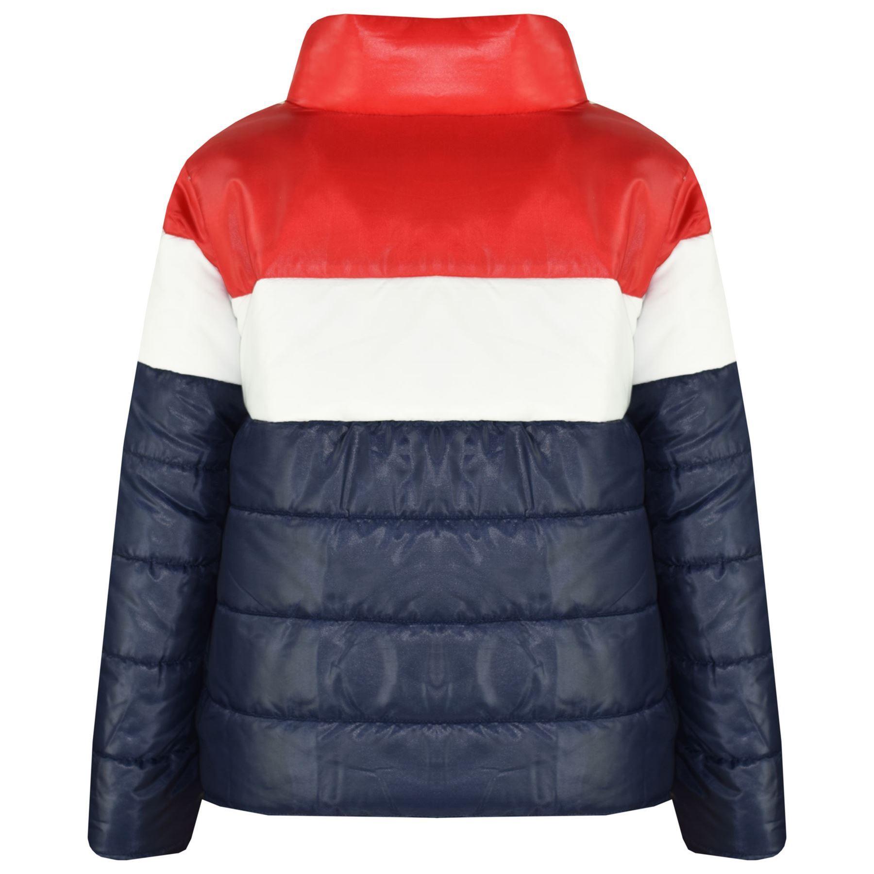 fbc679d0e Kids Girls Boys Designer Contrast Panel Hooded Jackets Padded ...