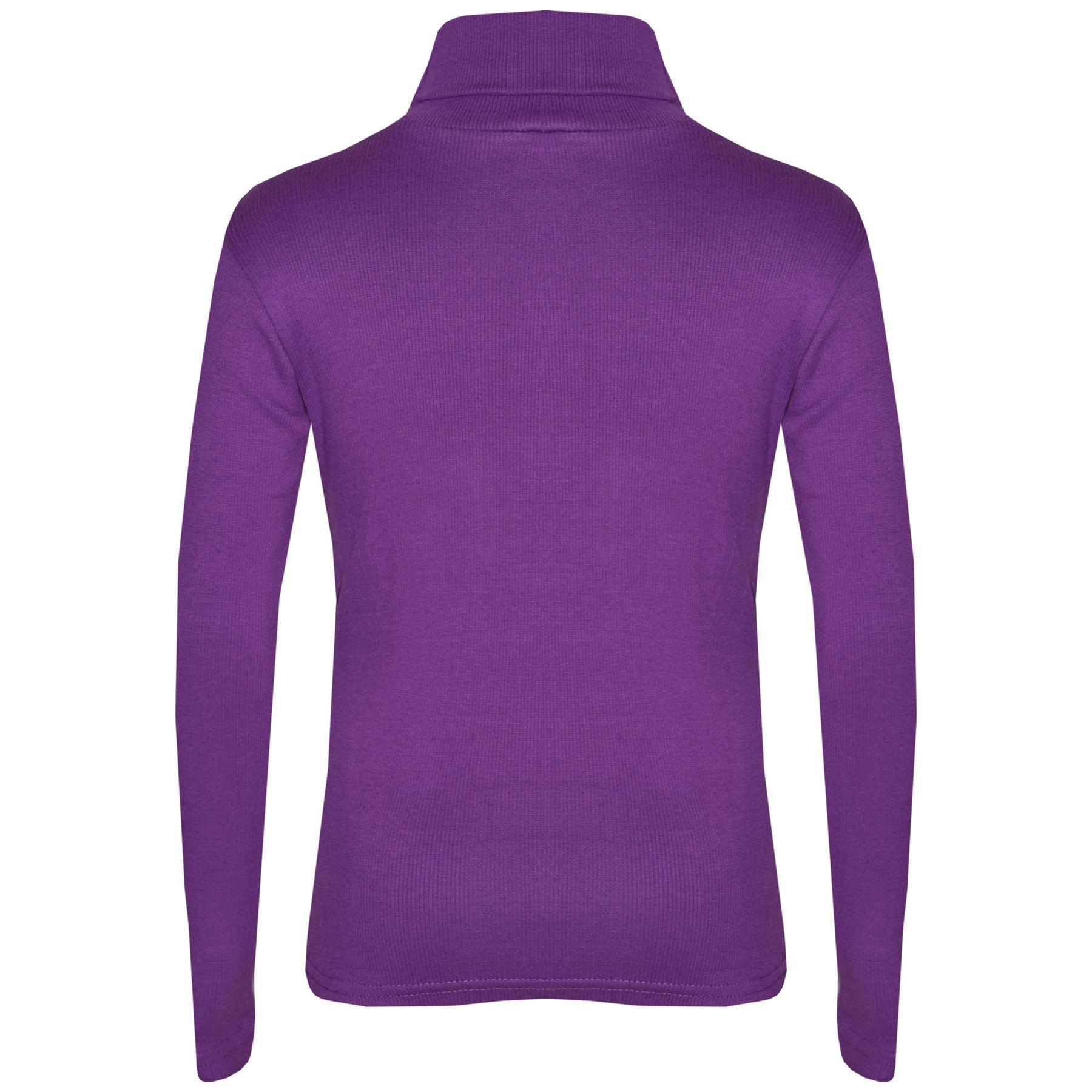 Enfants-Filles-Polo-Shirt-epais-Coton-Col-Roule-Pull-Haut-a-manches-longues-2-13