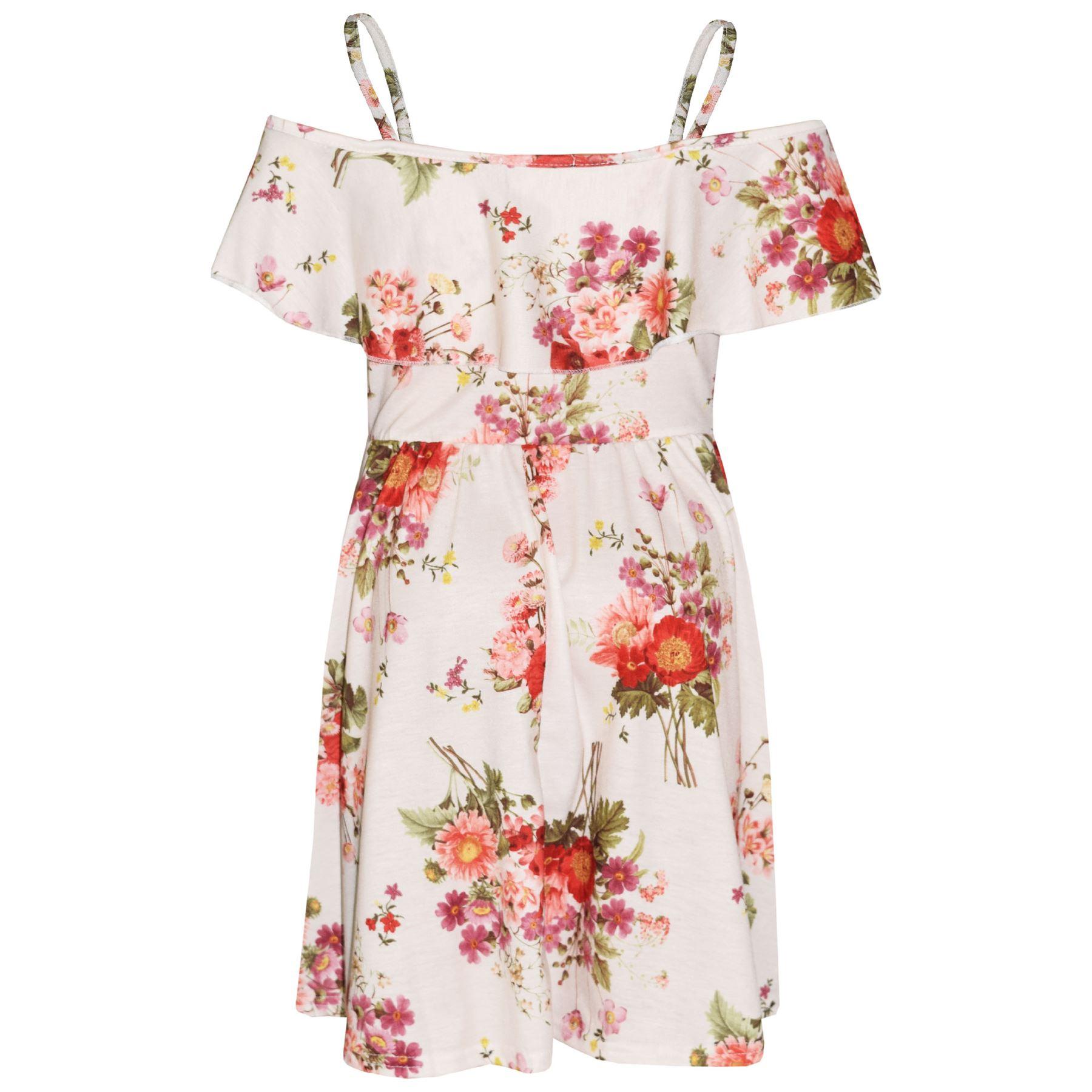 Kids-Girls-Skater-Dress-Floral-Print-Summer-Party-Fashion-Off-Shoulder-Dresses thumbnail 29