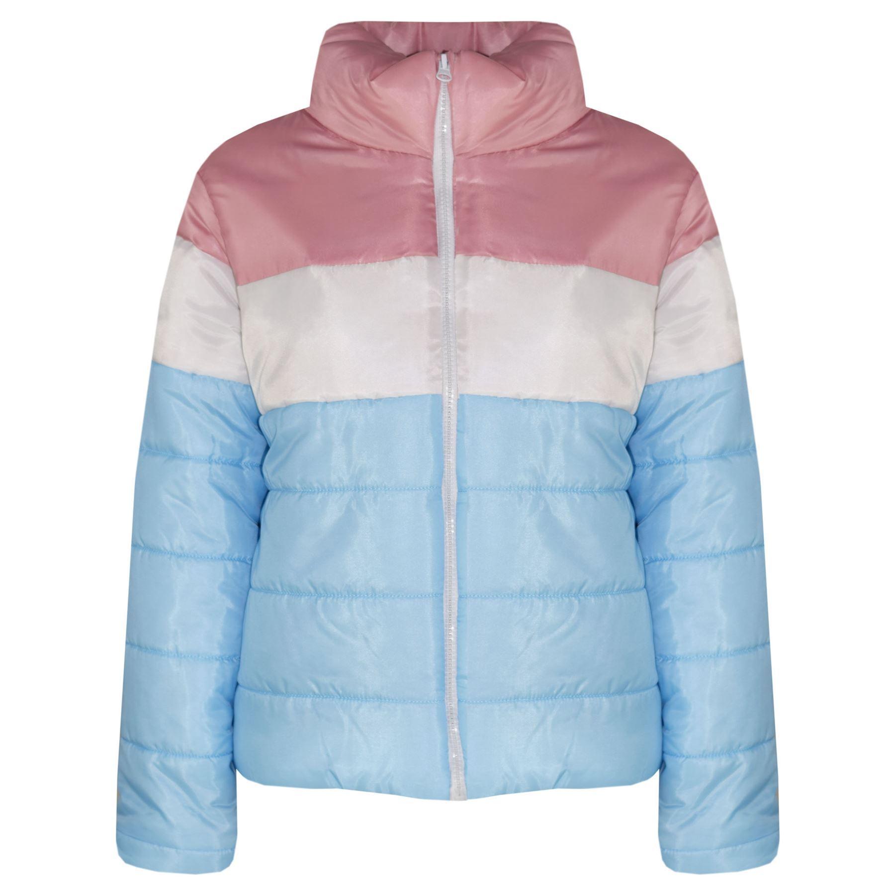 f6ee19a9 Kids Boys Girls Jackets Designer Contrast Panel Hooded Padded ...