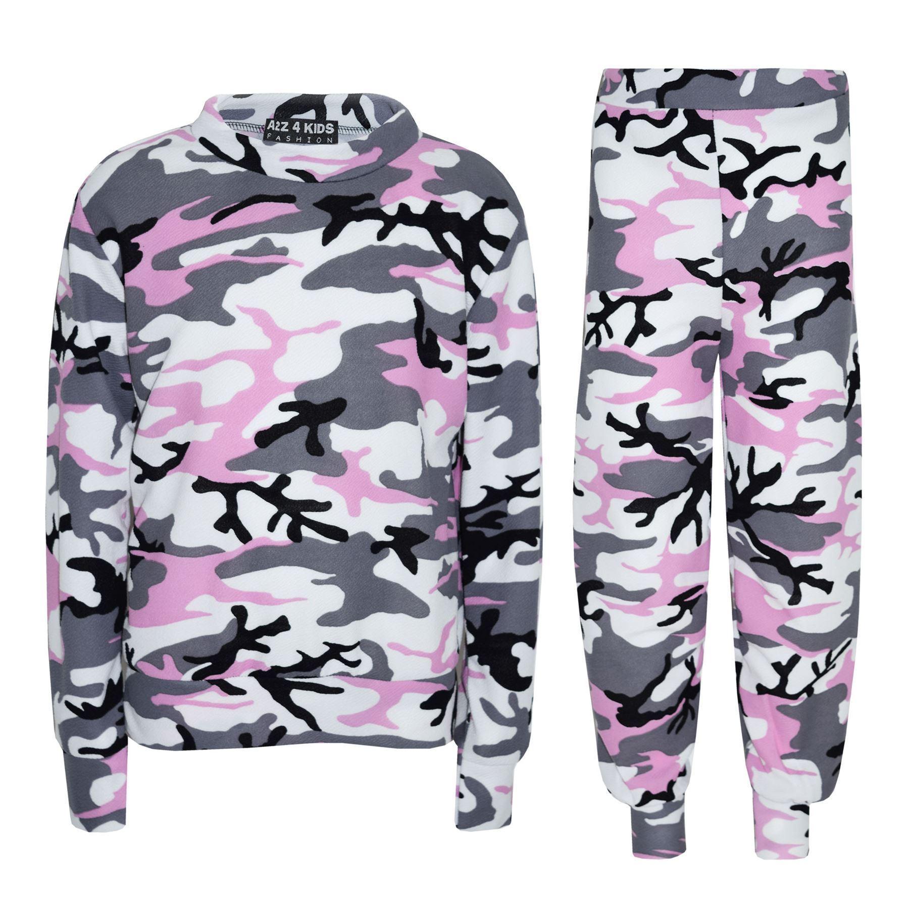 Enfants-filles-CamouFlage-impression-Crop-Top-Legging-veste-survetement-Age-7-13-ans