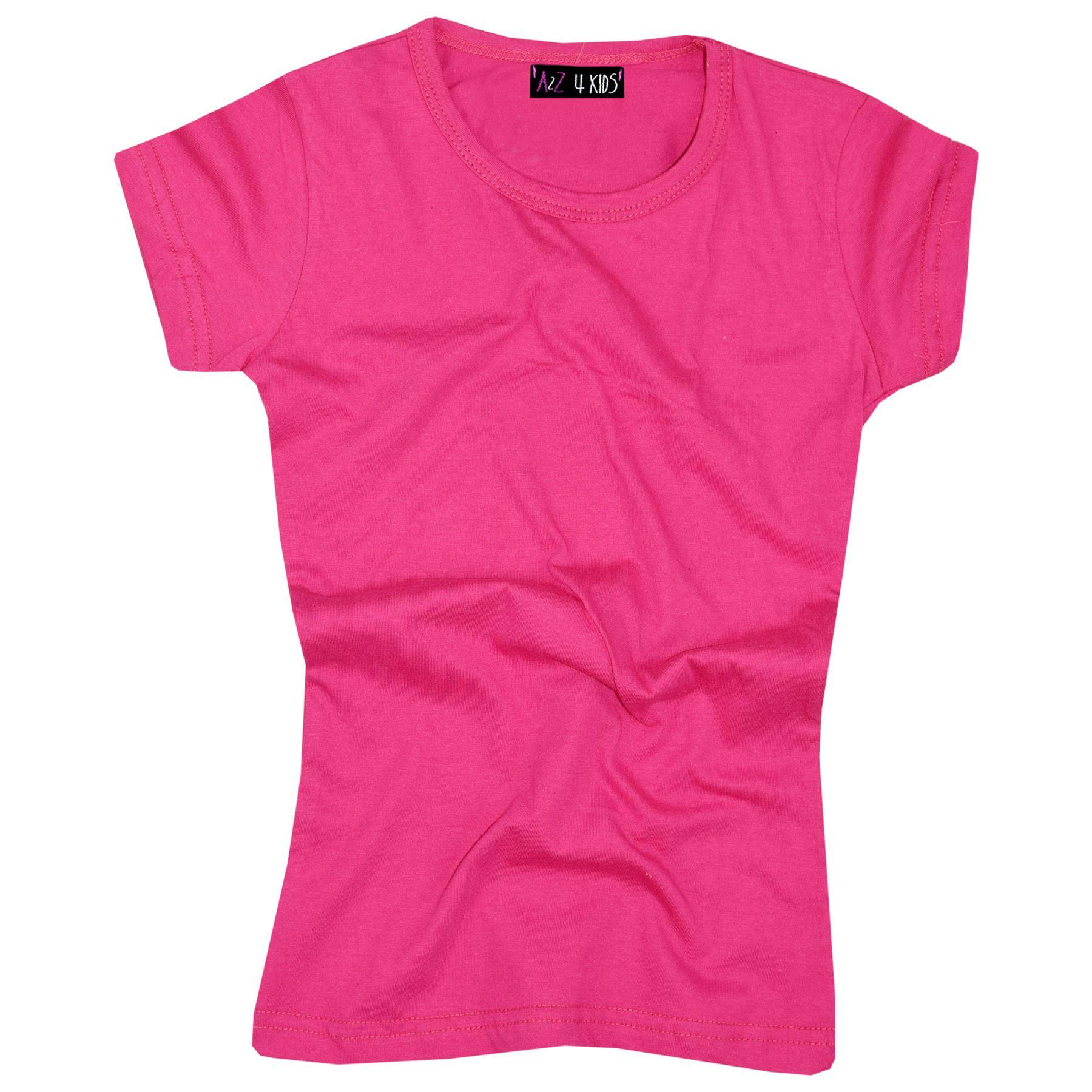 Kids-Girls-T-Shirts-Designer-100-Cotton-Plain-School-T-Shirt-Top-New-Age-3-13Yr thumbnail 29