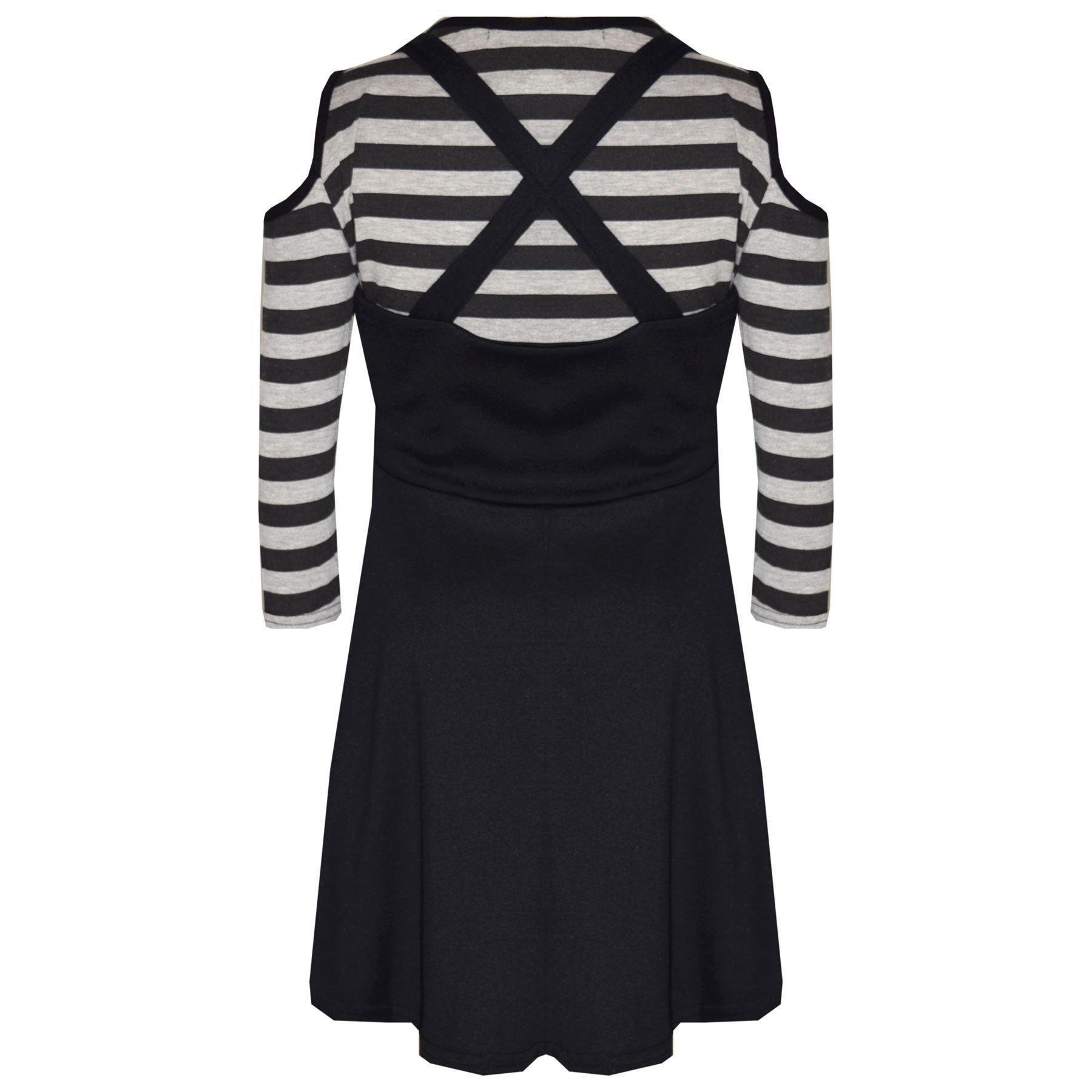 Kids-Girls-Skirts-Designer-Pinafore-Skirt-amp-Shoulder-Cut-Style-Crop-Top-7-13-Yr thumbnail 3