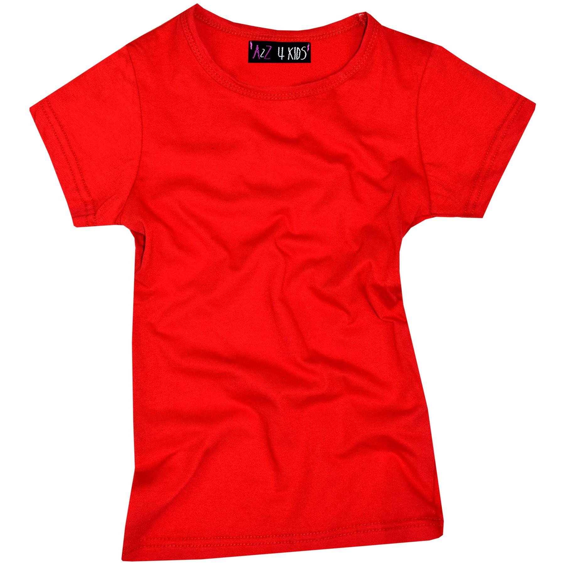 Kids-Girls-T-Shirts-Designer-100-Cotton-Plain-School-T-Shirt-Top-New-Age-3-13Yr thumbnail 32