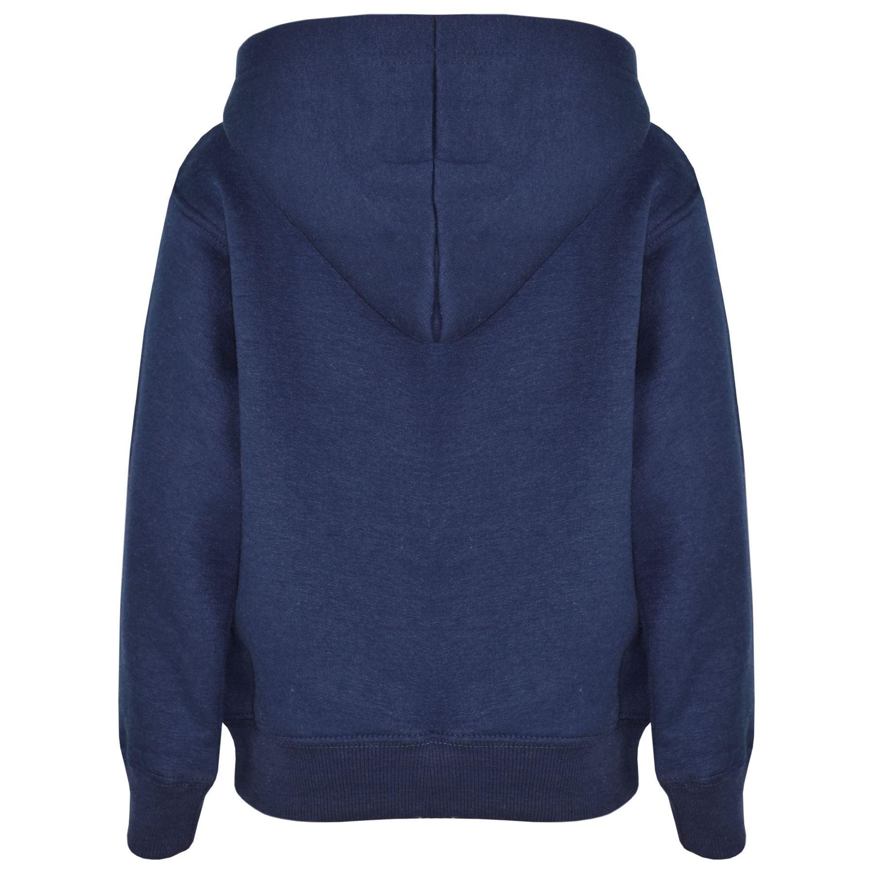 e705e85a354 Kids Girls Boys Sweatshirt Tops Plain Navy Hooded Jumpers Hoodies ...