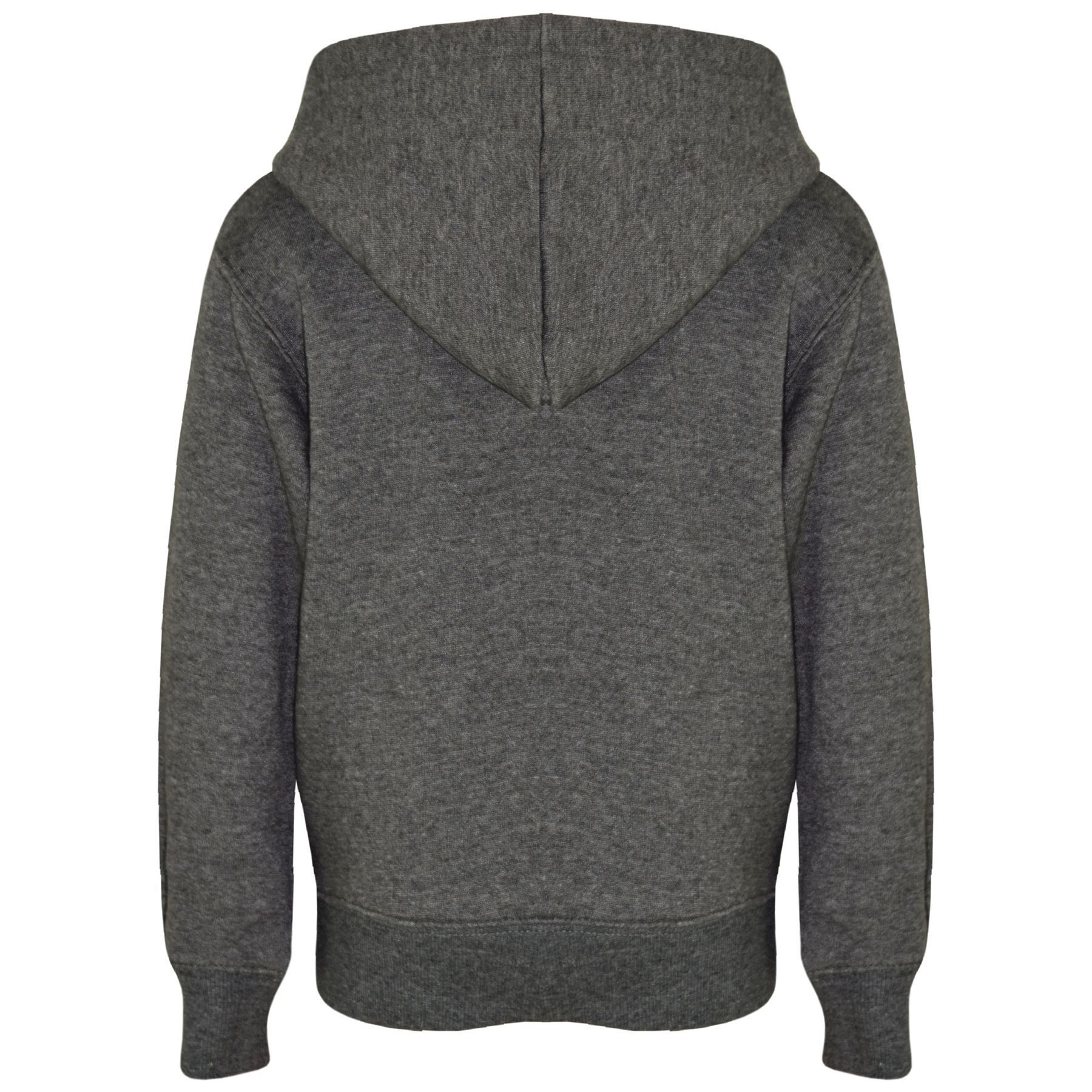 f00cb10f Details about Kids Girls Boys Sweatshirt Tops Plain Charcoal Hooded Jumpers  Hoodies 2-13 Year