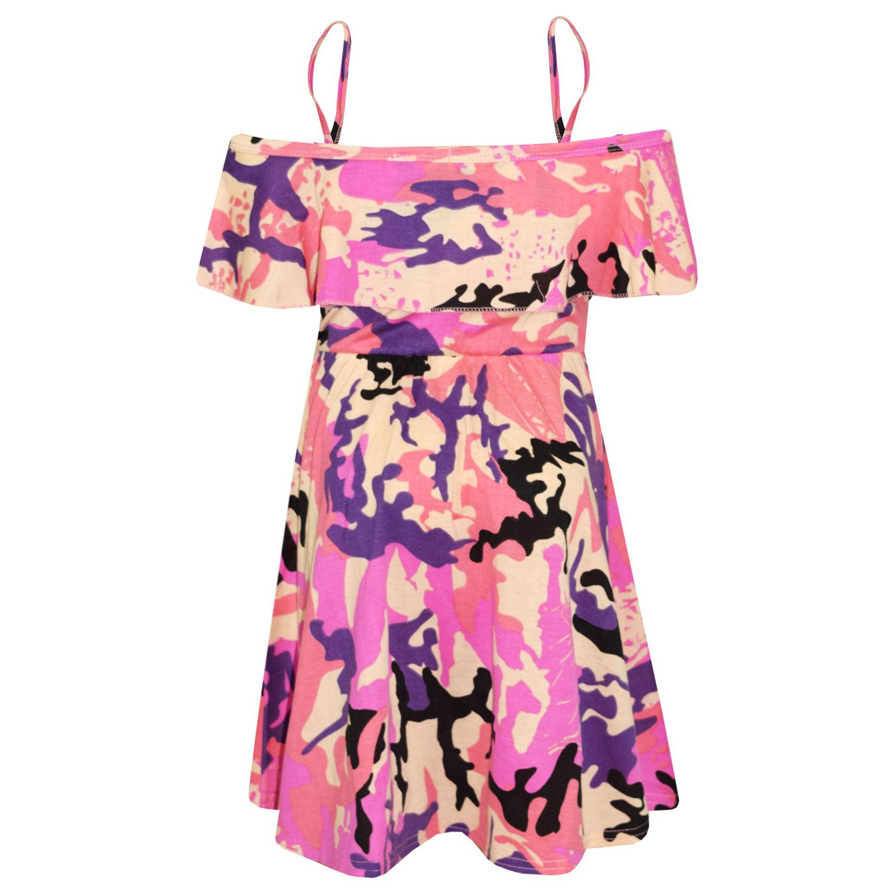 Kids-Girls-Skater-Dress-Floral-Print-Summer-Party-Fashion-Off-Shoulder-Dresses thumbnail 8