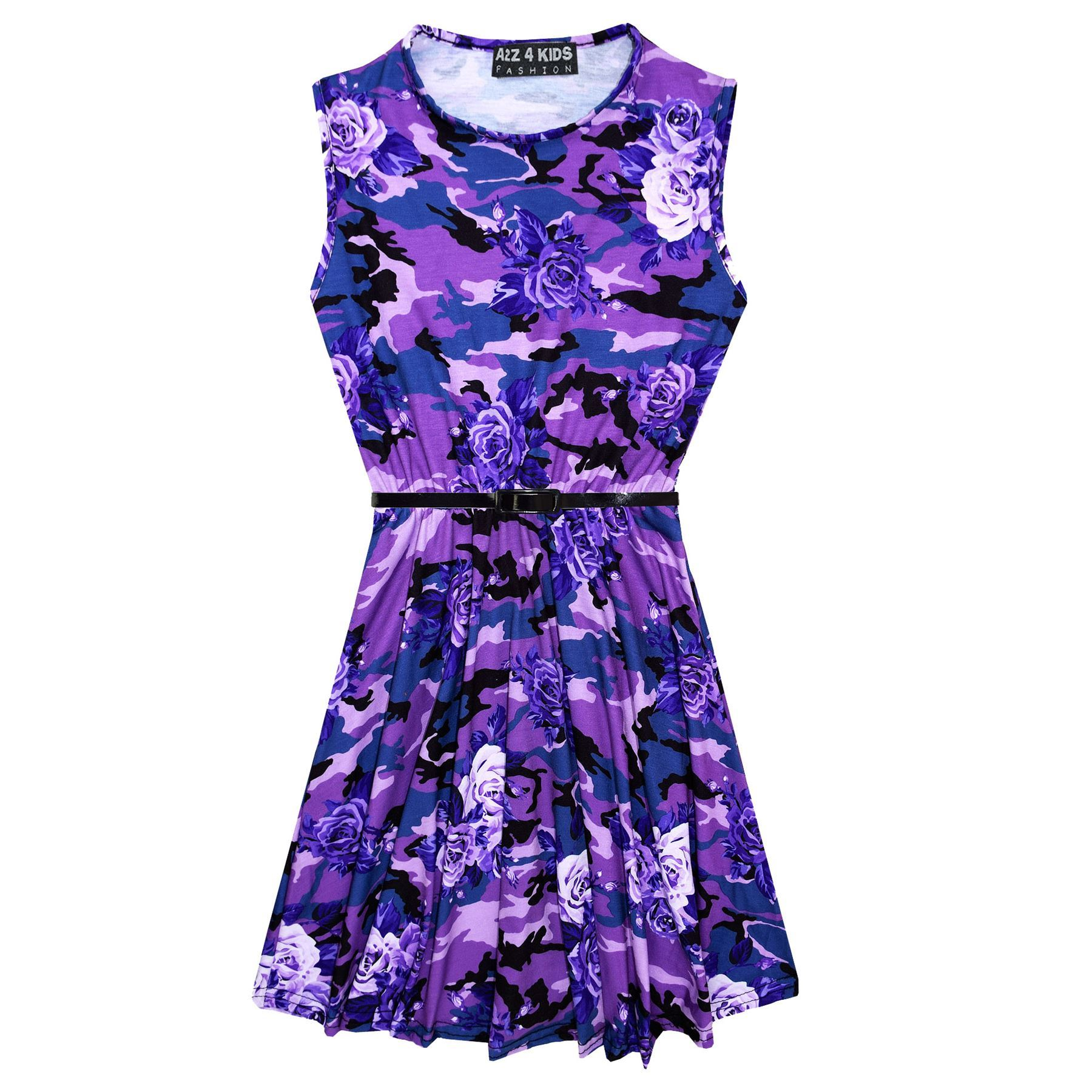 Girls-Skater-Dress-Kids-Camo-Floral-Print-Summer-Party-Dresses-Age-7-13-Years thumbnail 10