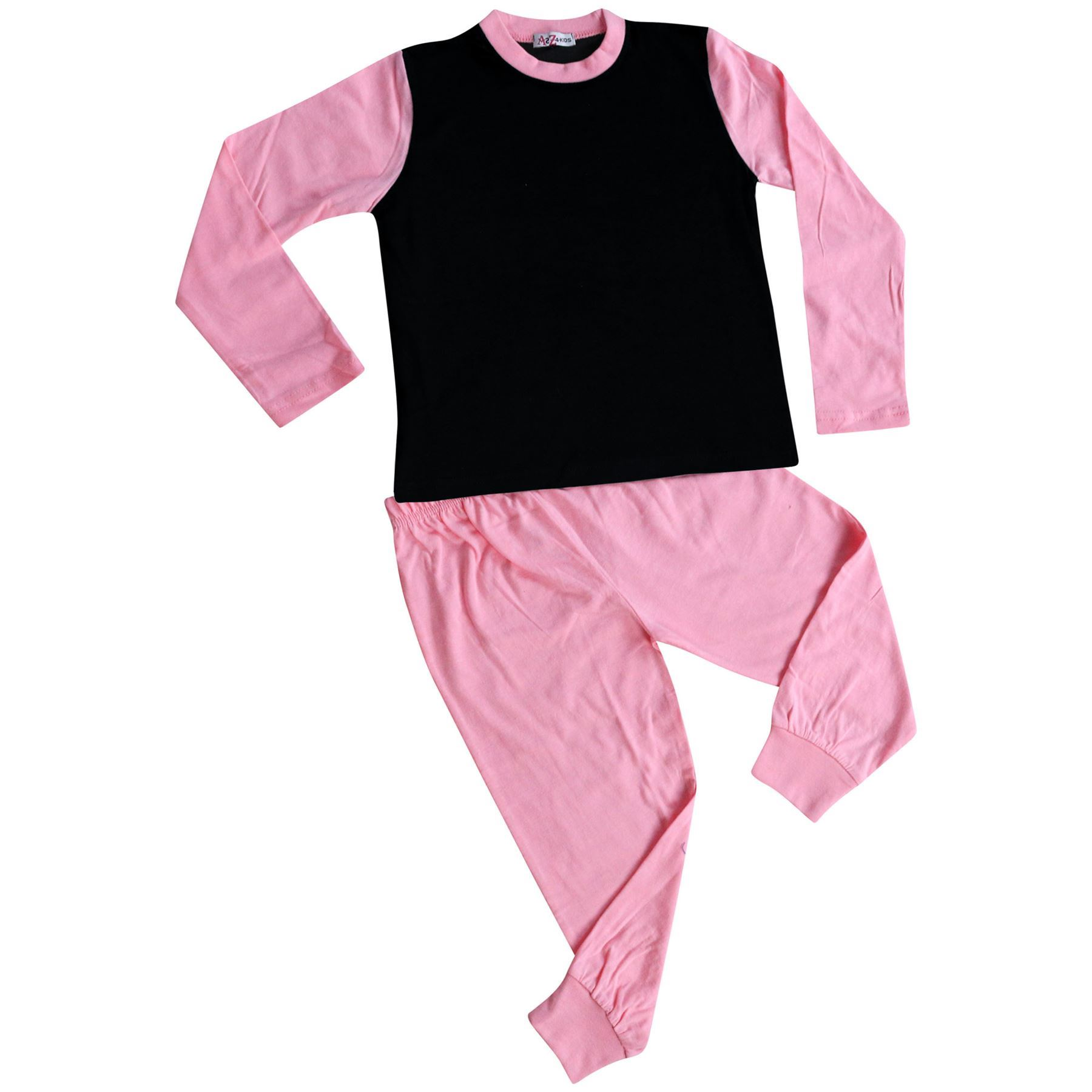 Kids Girls Pjs Contrast Lilac Color Plain Stylish Pyjamas Set New Age 2-13 Years