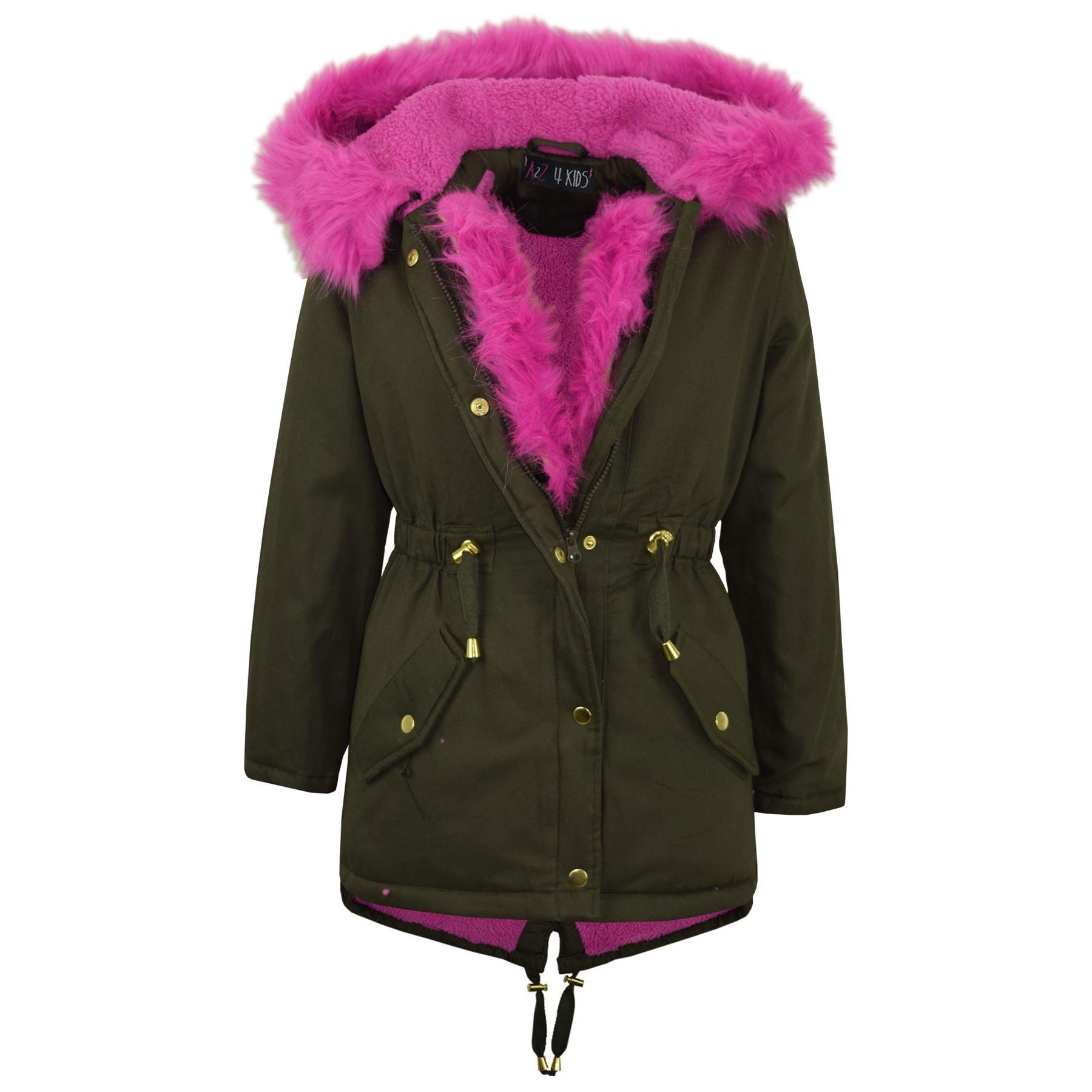 kids hooded jacket girls faux fur parka school jackets. Black Bedroom Furniture Sets. Home Design Ideas