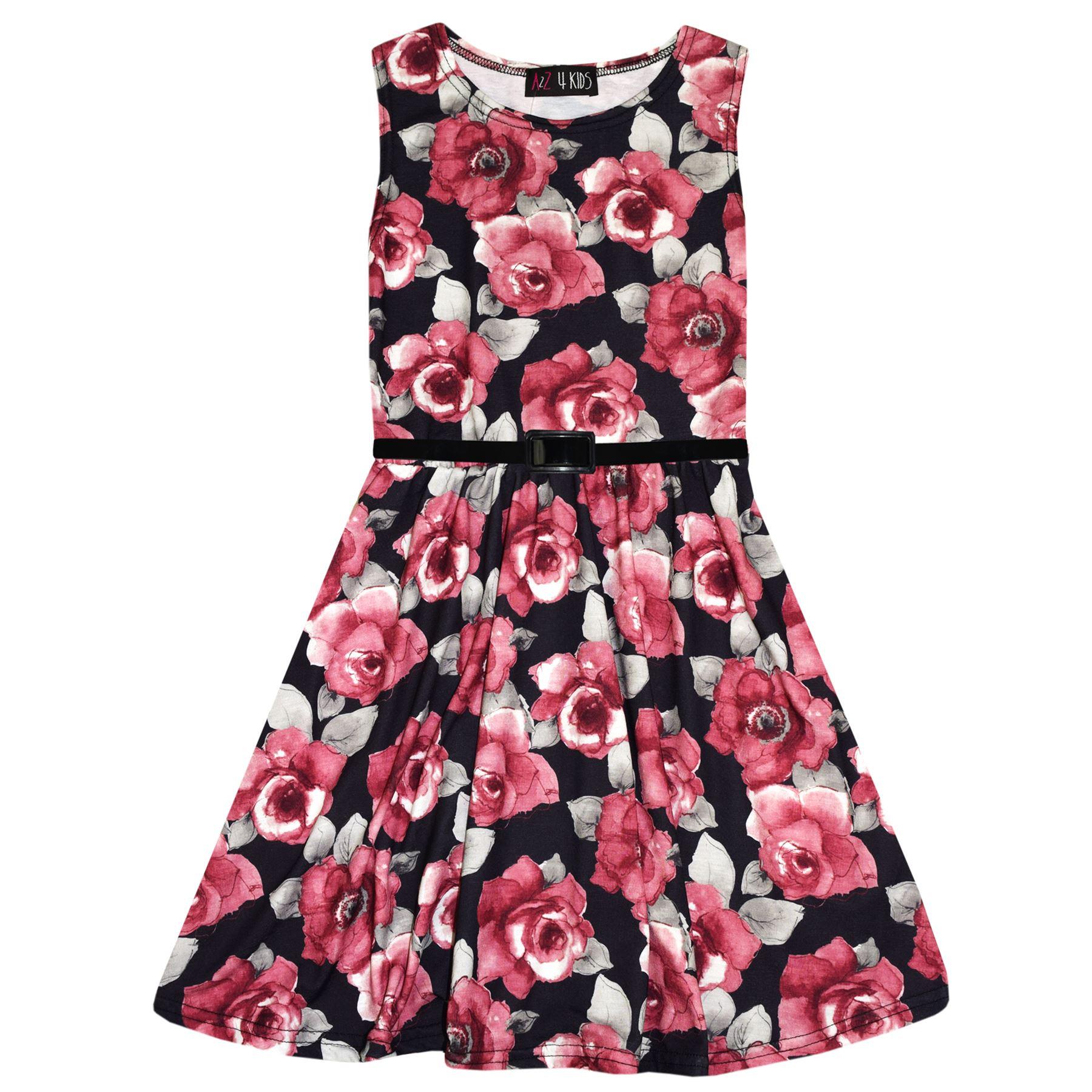 Soirée 7 13 Rouge Sur Mode Patineuse Robes Robe Imprimé Filles Enfants Ans Détails Été Roses FKclJ1