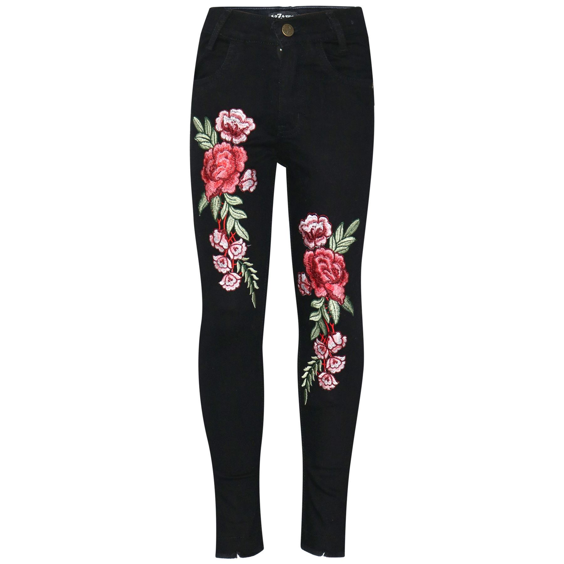 Enfants-Filles-Extensible-Jeans-roses-brode-Noir-Denim-Pantalon-Jeggings
