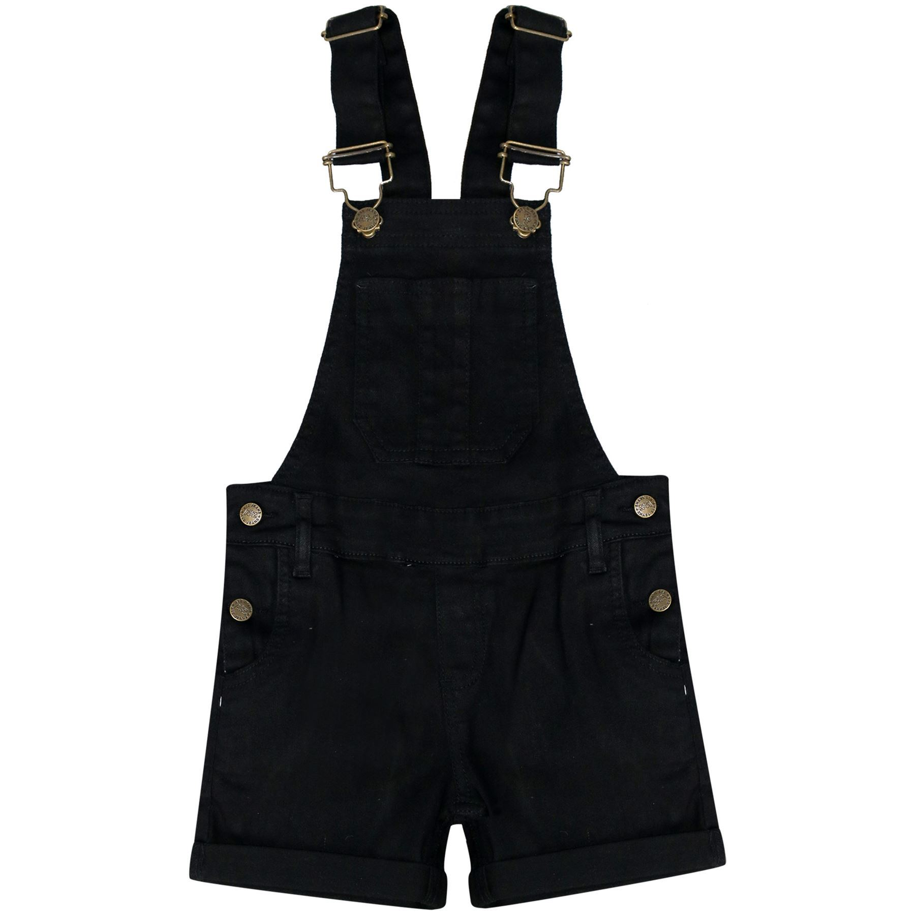 Kids Girls Dungaree Shorts Denim Stretch Jeans Jumpsuit Playsuit All in One 5-13
