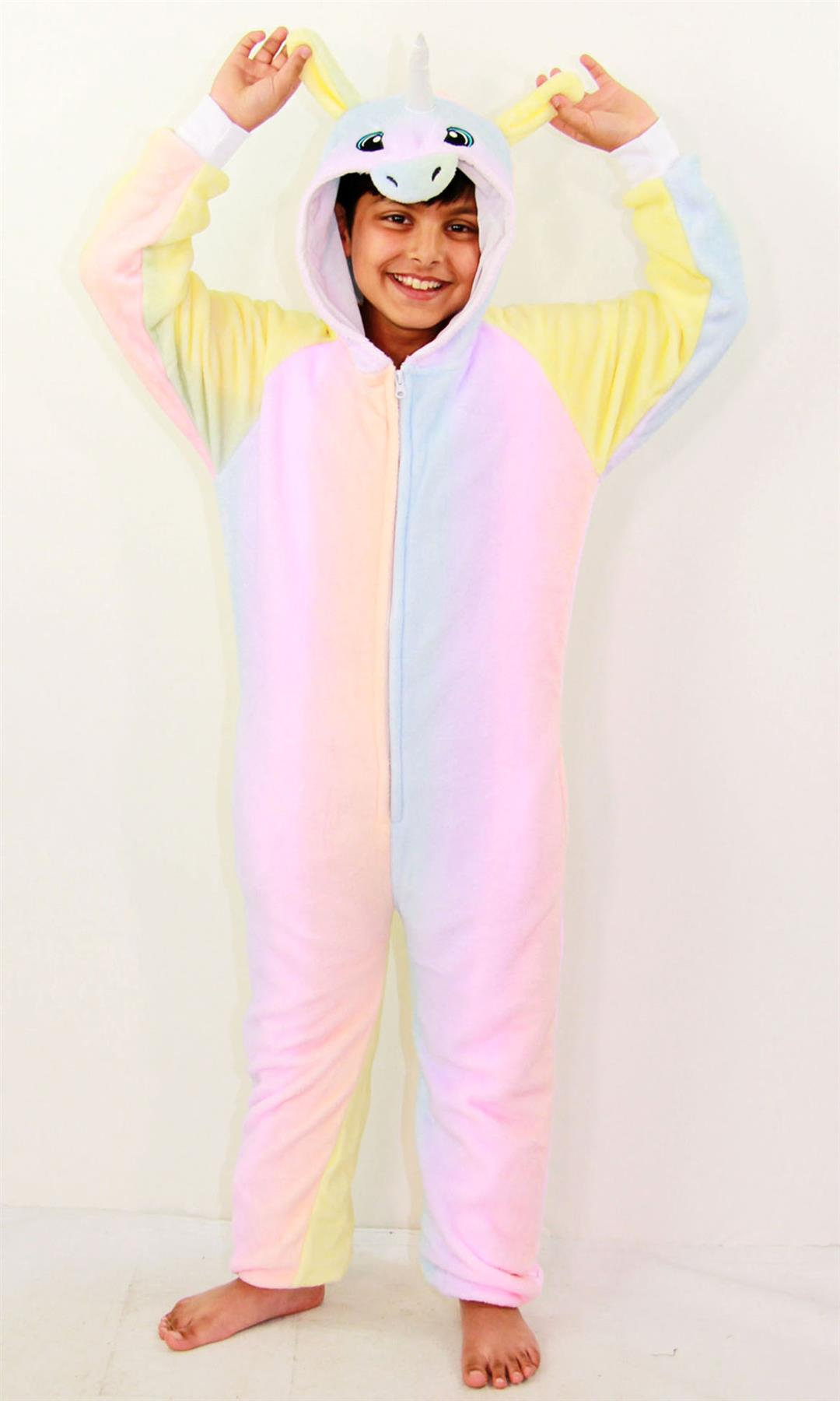 Kids-Girls-Boys-Soft-Fluffy-Animal-Monkey-A2Z-Onesie-One-Piece-Halloween-Costume miniatuur 77