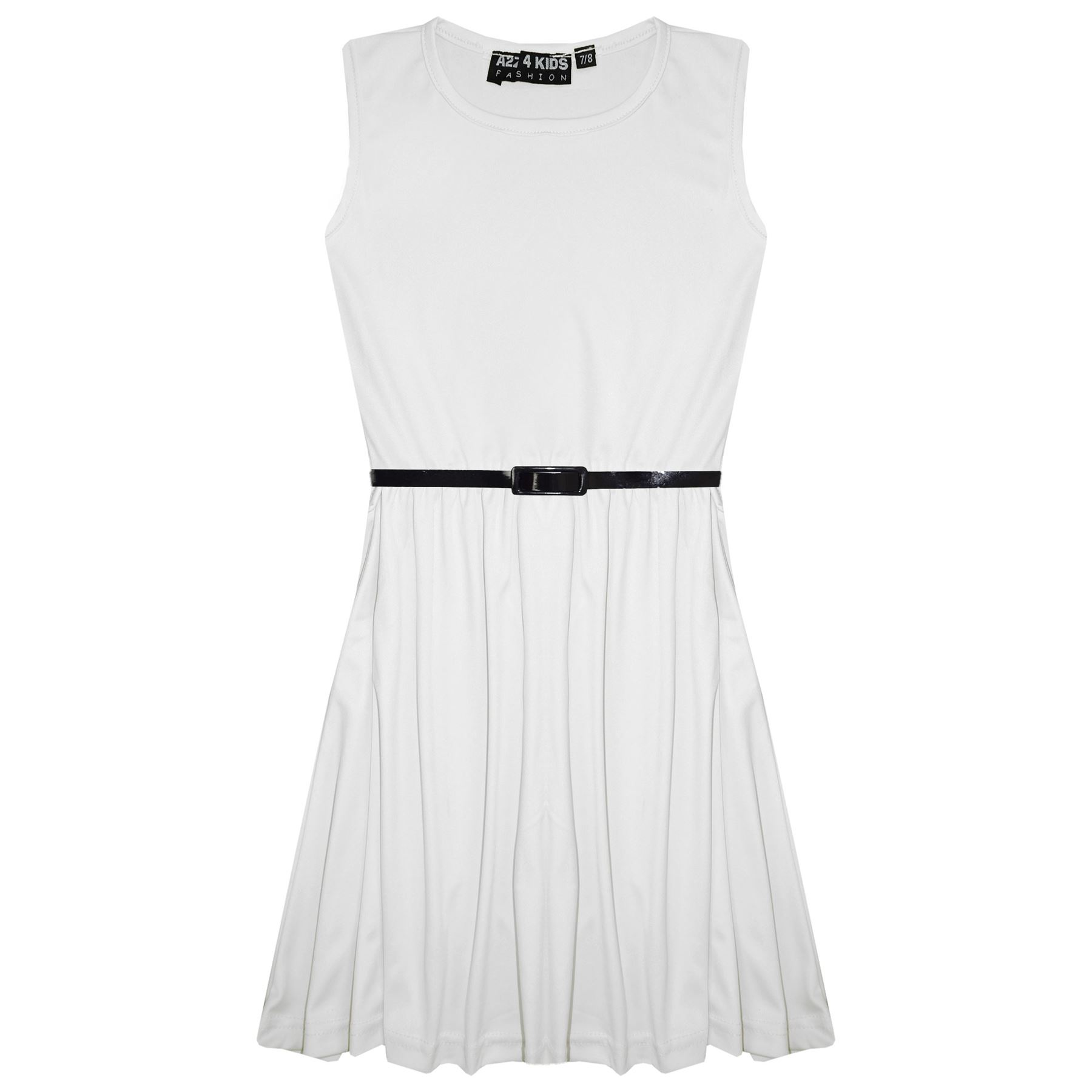 Girls-Skater-Dress-Kids-Party-Dresses-With-Free-Belt-5-6-7-8-9-10-11-12-13-Years miniatuur 98