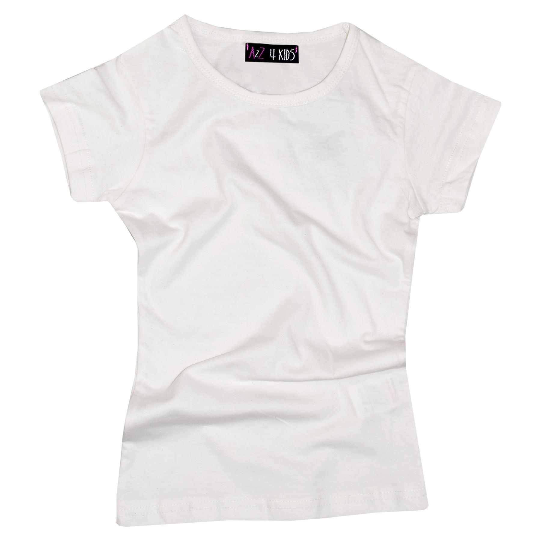 Kids-Girls-T-Shirts-Designer-100-Cotton-Plain-School-T-Shirt-Top-New-Age-3-13Yr thumbnail 38