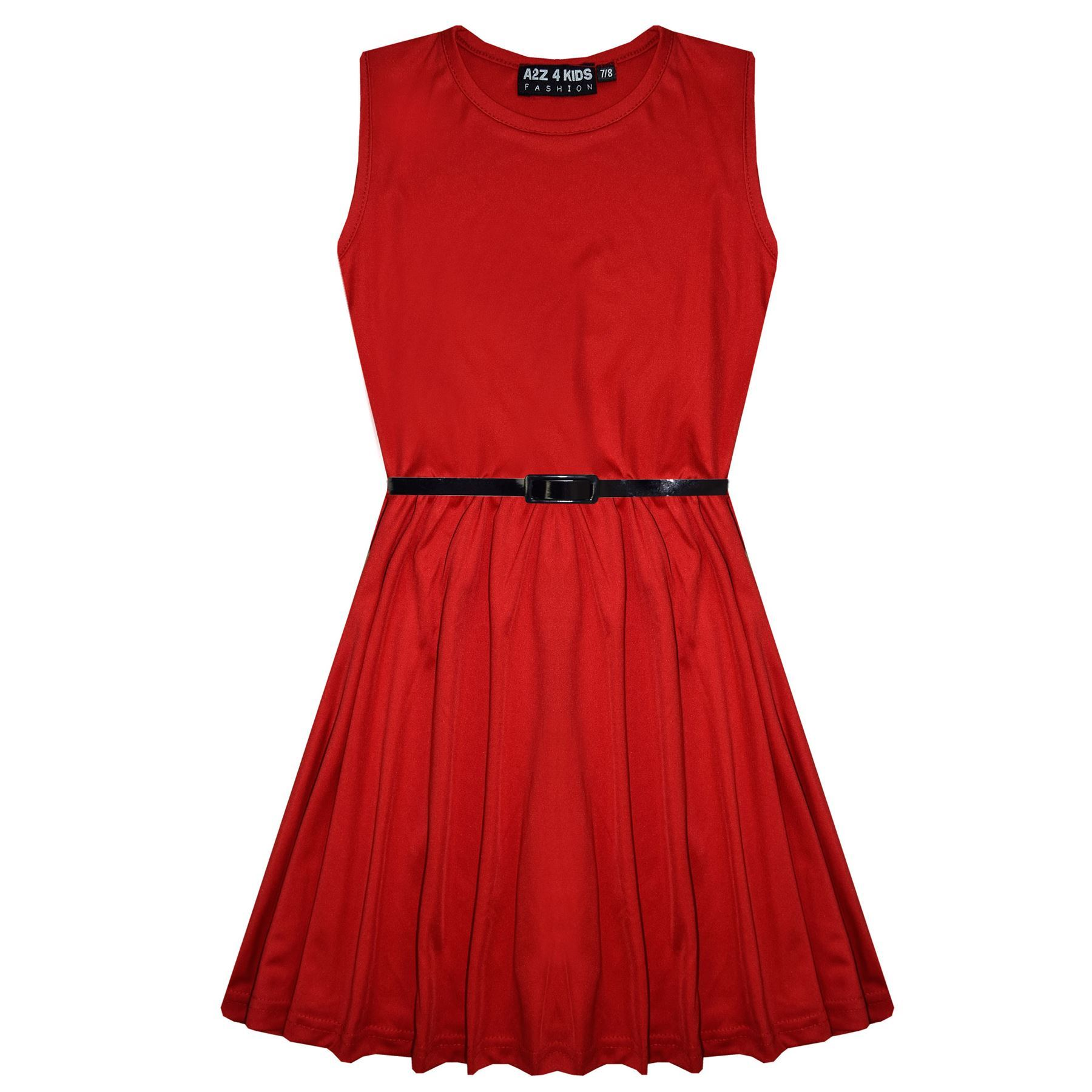 Girls-Skater-Dress-Kids-Party-Dresses-With-Free-Belt-5-6-7-8-9-10-11-12-13-Years thumbnail 66