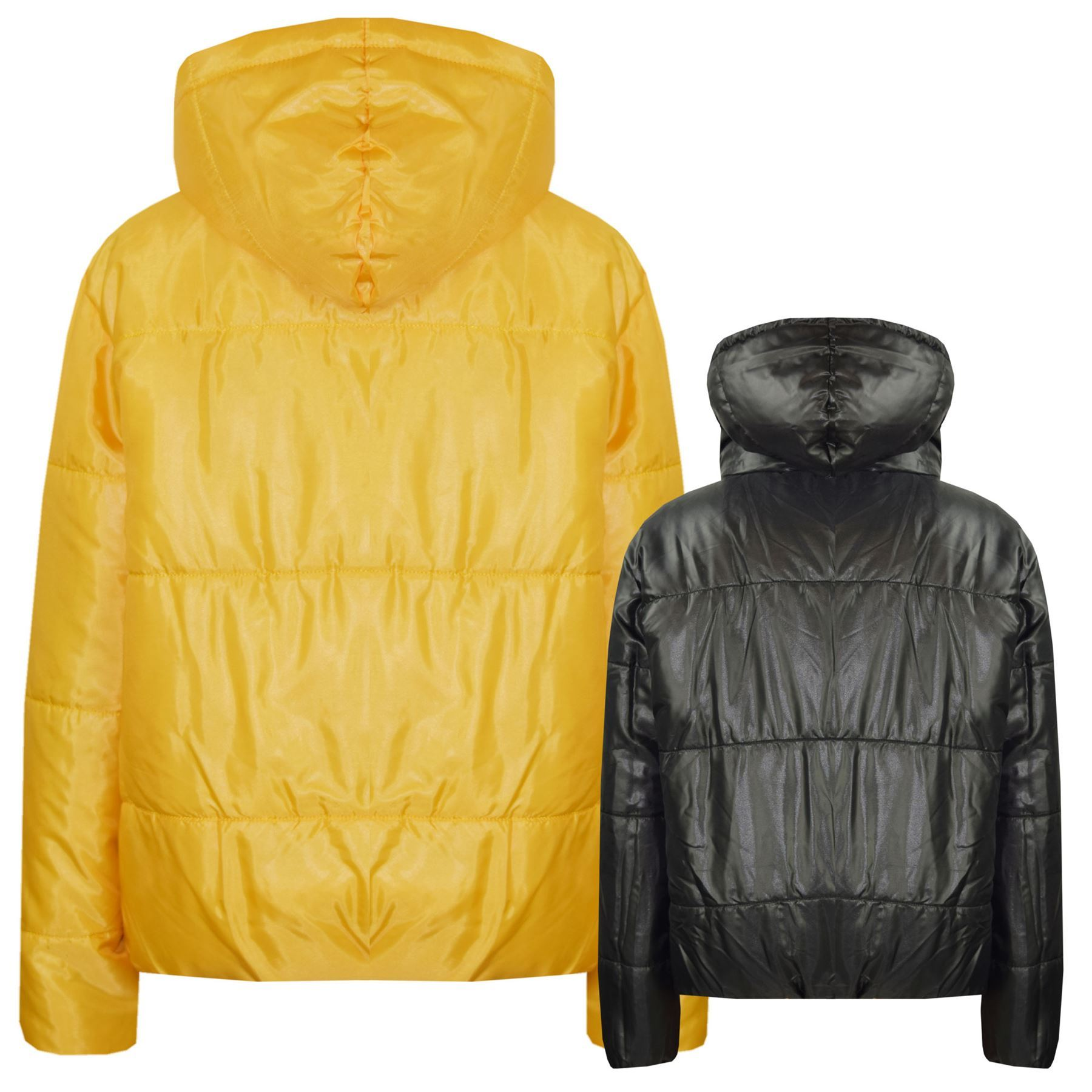 8a4c18ff9c7 Girls Jackets Kids Mustard Reversible Cropped Hooded Padded Puffer ...