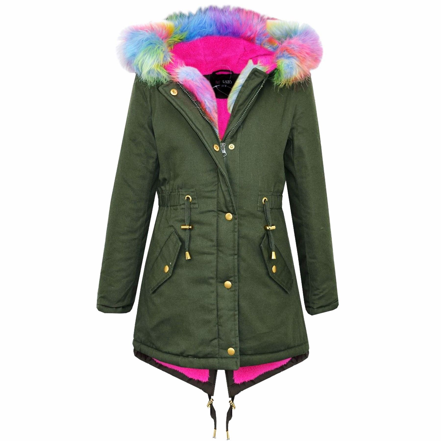 Kids-Hooded-Jacket-Girls-Faux-Fur-Parka-School-Jackets-Outwear-Coat-5-13-Years