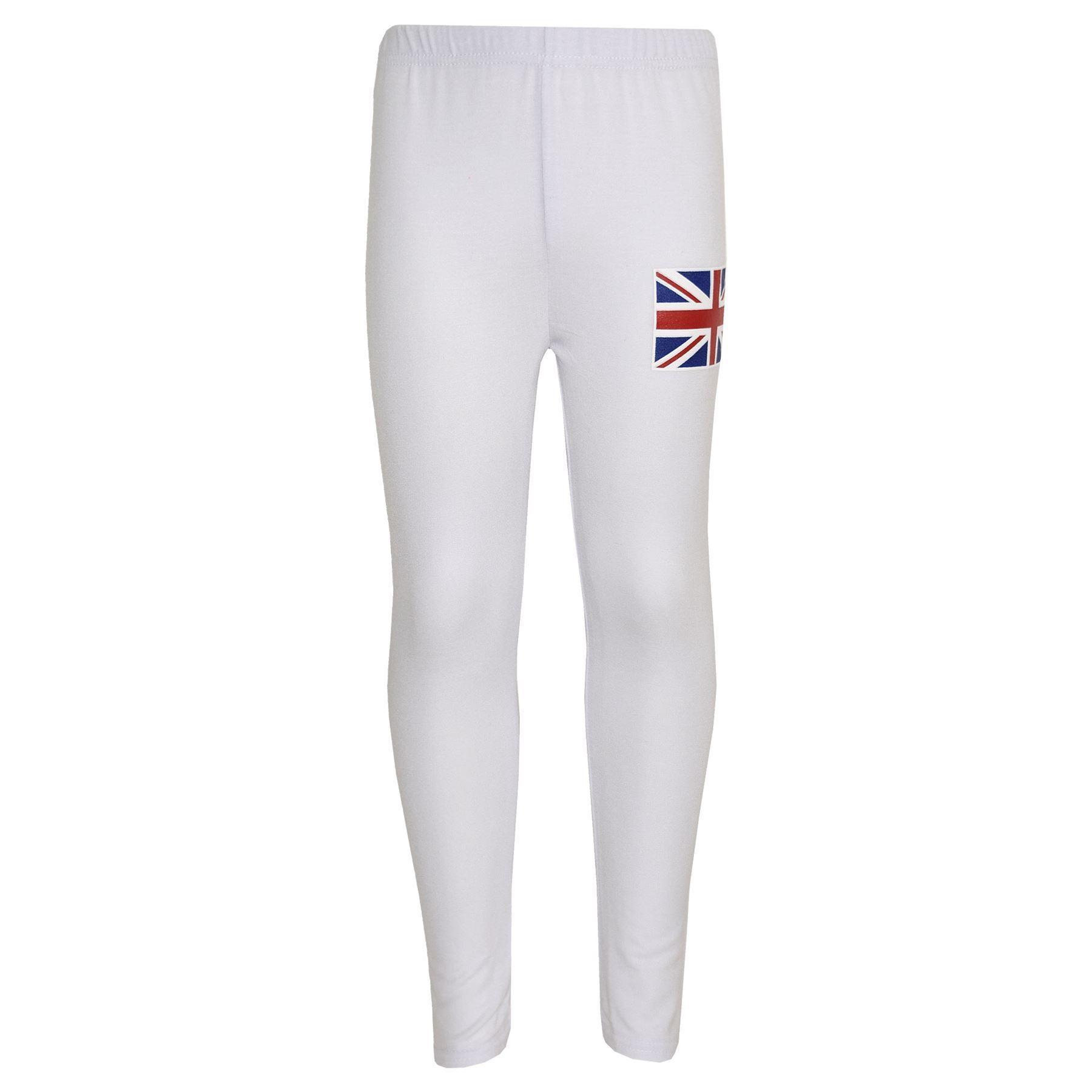 Kids Girls Boys England Flag Sleeveless Crop White Hooded Top /& Legging Set 7-13