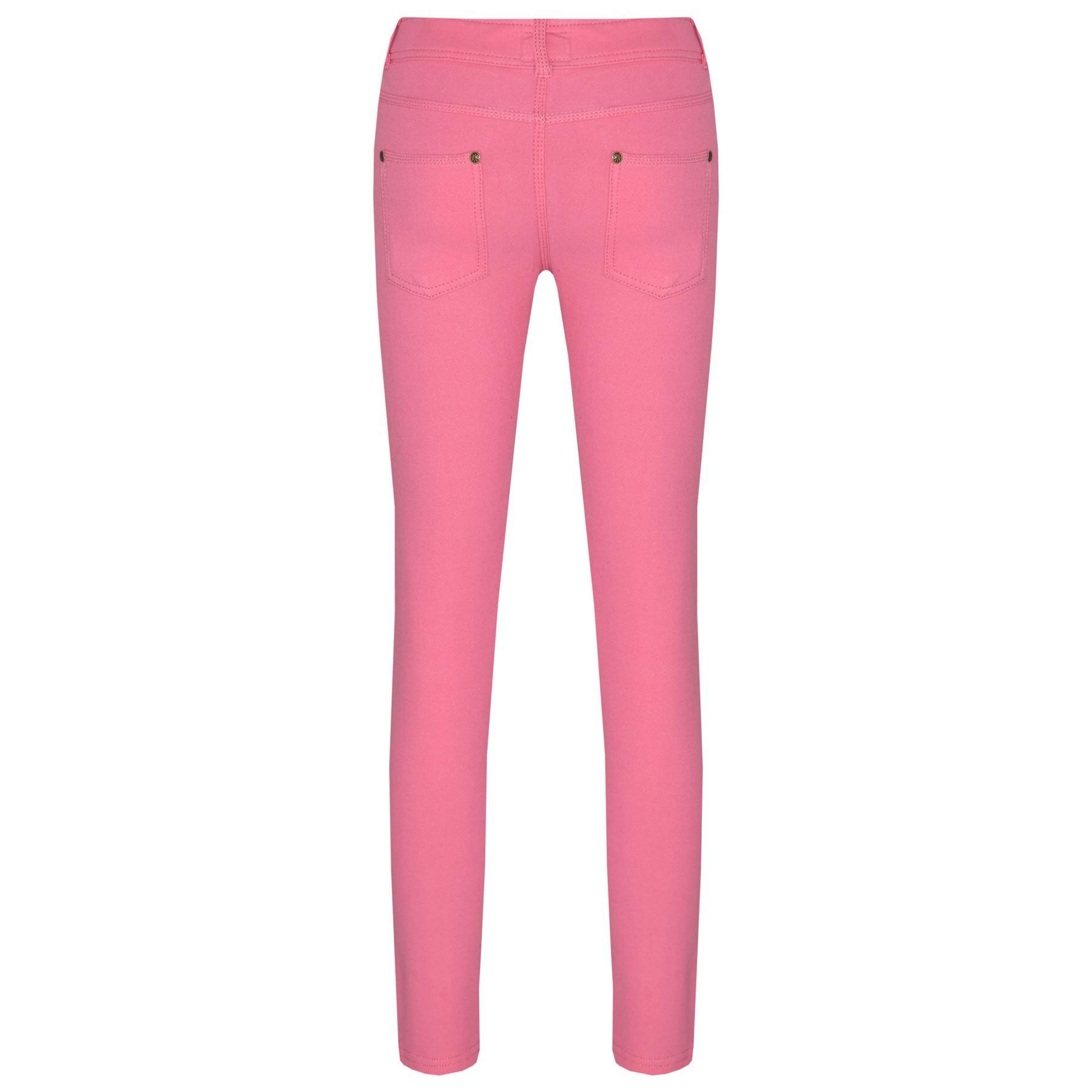 d8cbaa5a8a035 Girls Skinny Jeans Kids Pink Stretchy Denim Jeggings Fit Pants ...