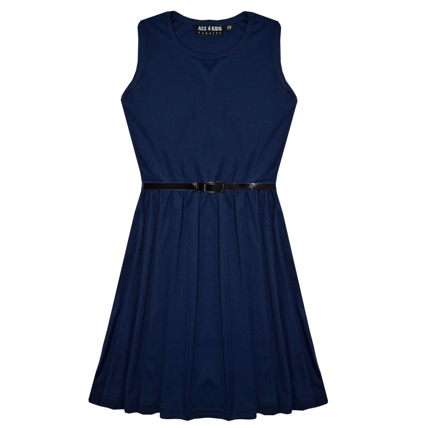 Girls-Skater-Dress-Kids-Party-Dresses-With-Free-Belt-5-6-7-8-9-10-11-12-13-Years miniatuur 41