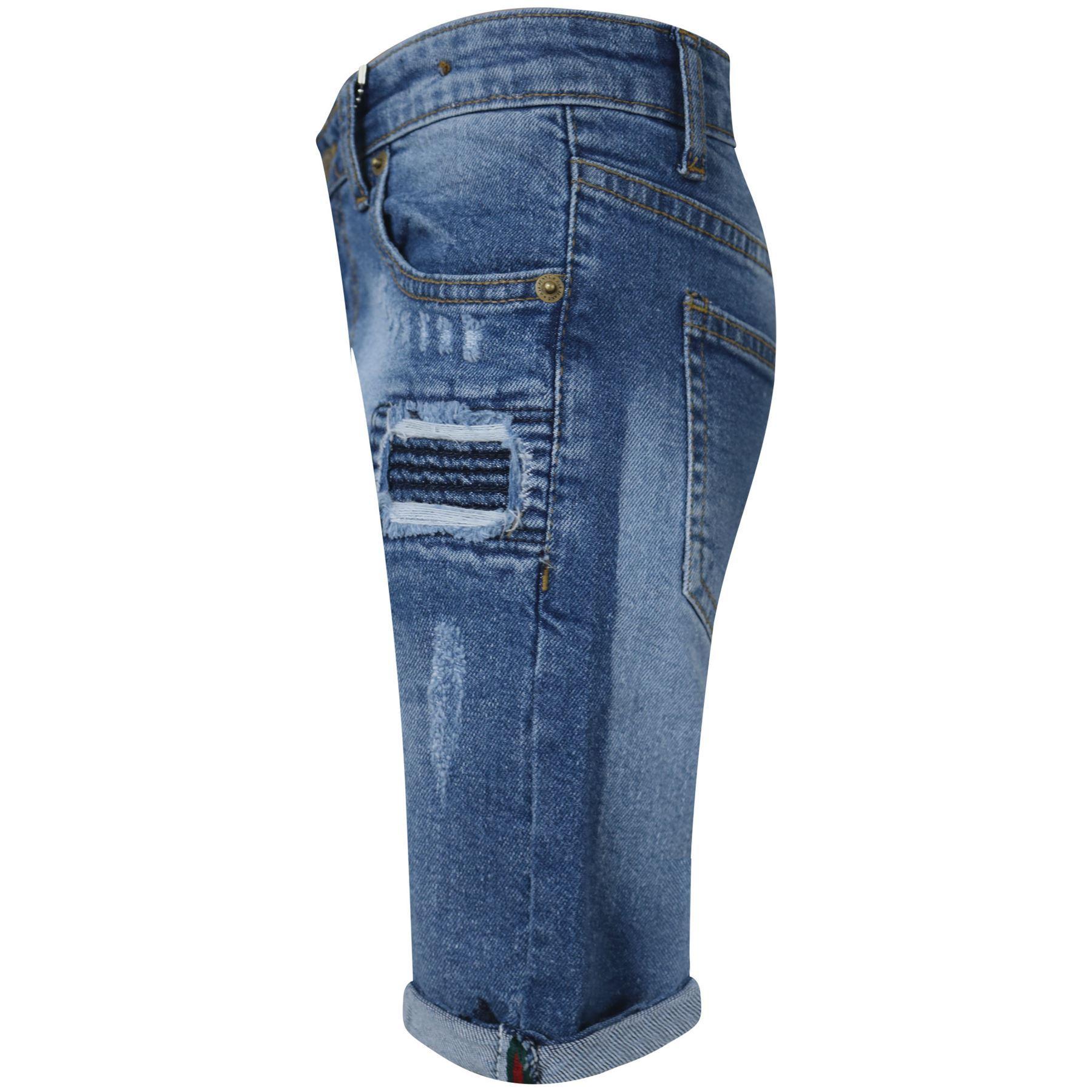 Bambini Ragazzi Pantaloncini Denim Strappato Chino Bermuda Jeans corto al ginocchio età 5-13 anni