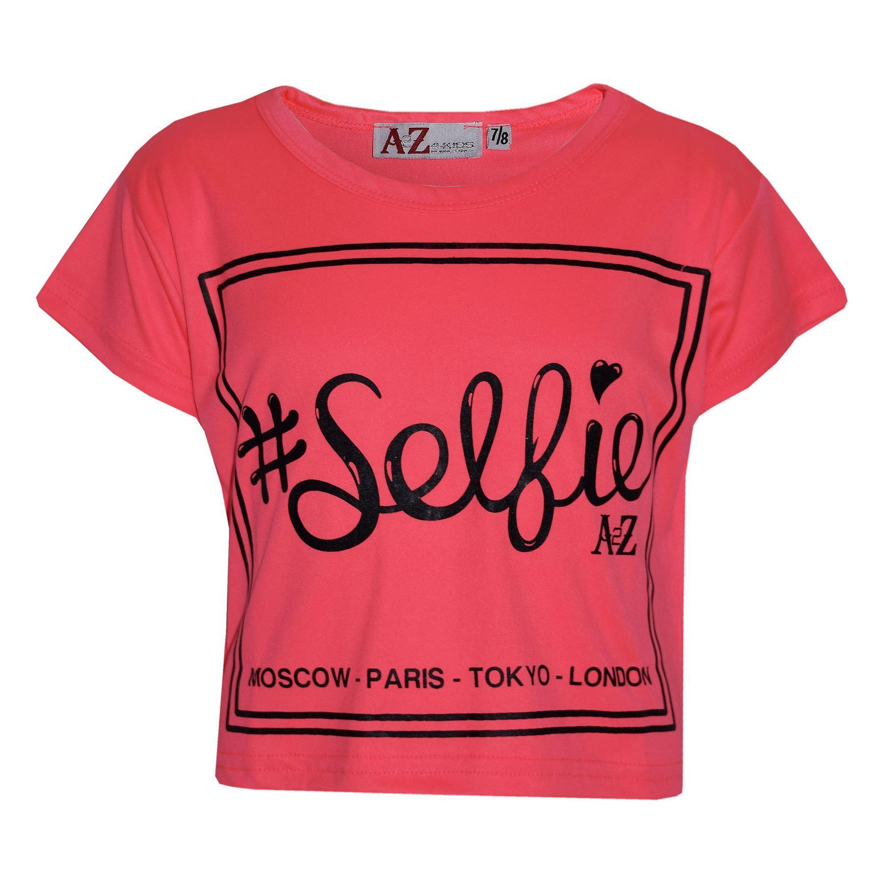 Girls Top #Selfie Print Stylish Fahsion Trendy T Shirt Top New Age 7-13 Years
