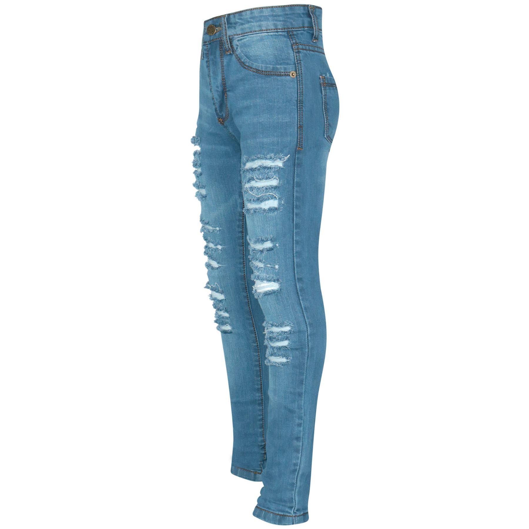 Kids Girls Light Blue Skinny Jeans Denim Ripped Fashion Stretchy Pants Jeggings