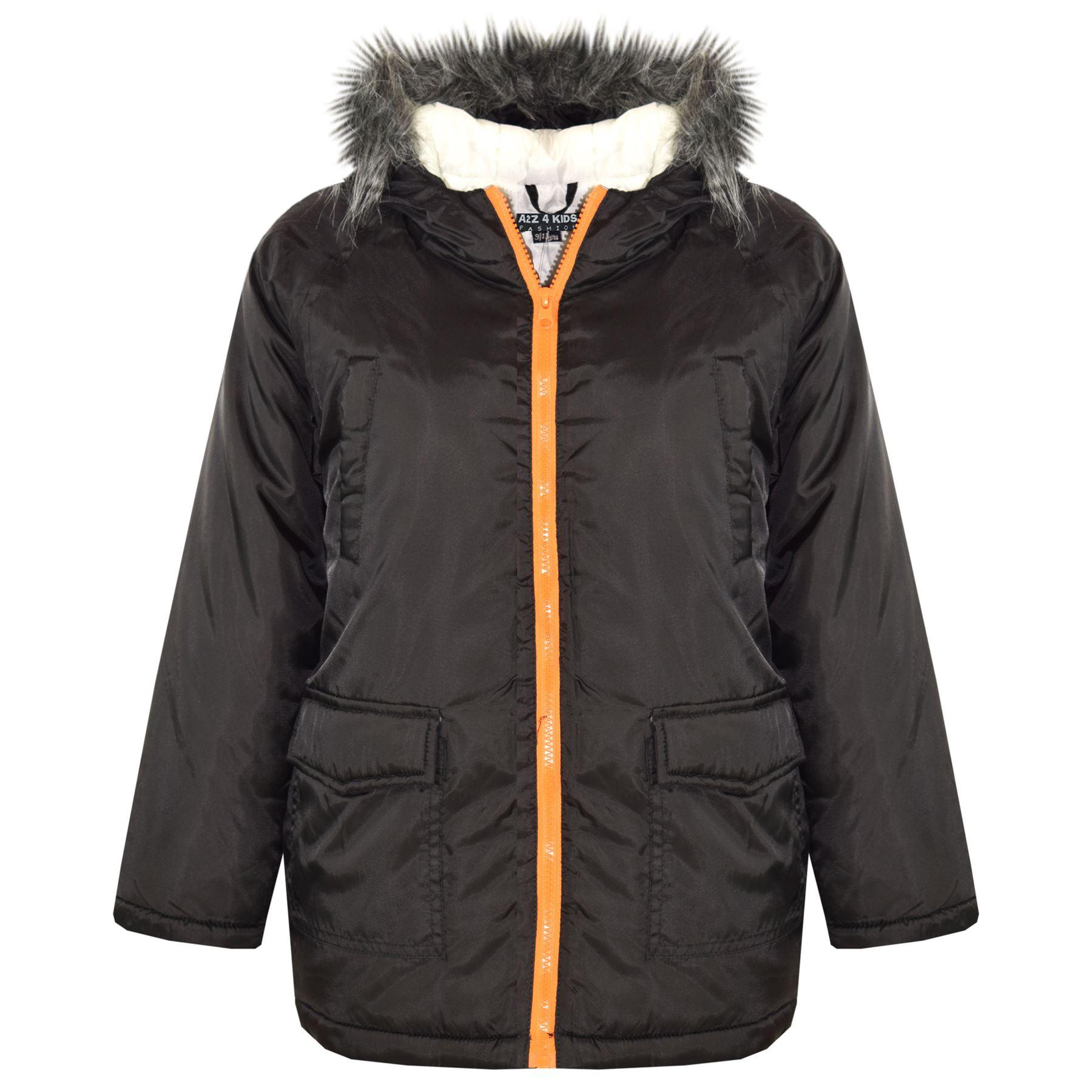 Boys Designer Coat | Boys Jackets Kids Designer Padded Faux Fur Hooded School Warm Thick