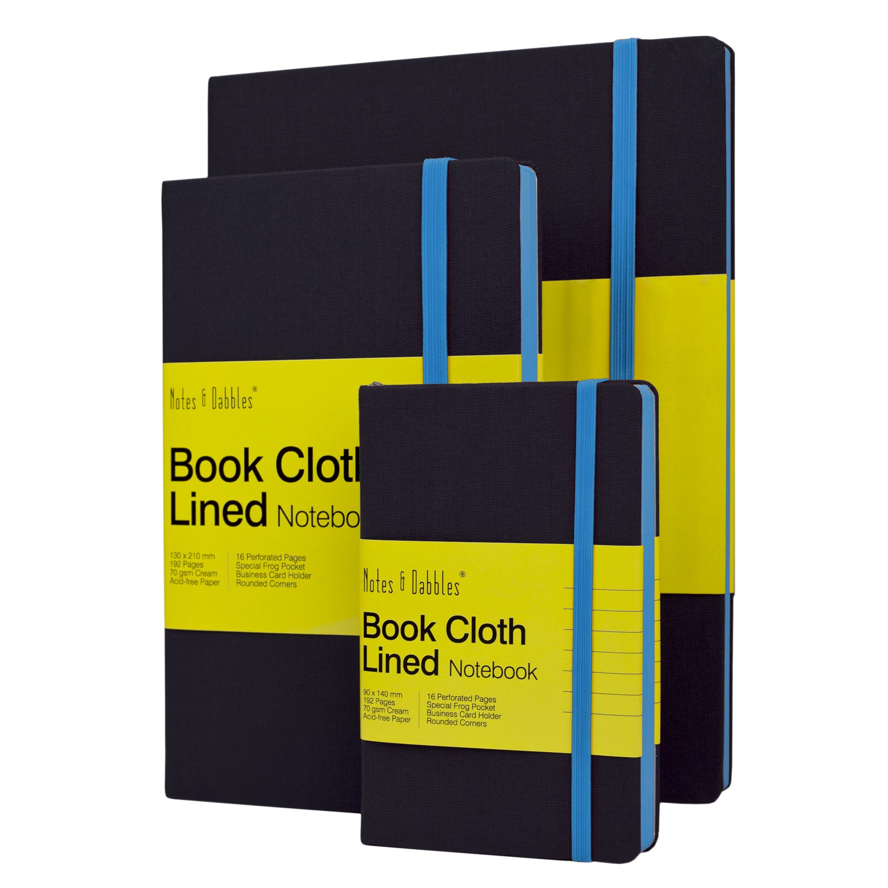 Notes & Dabbles Luna Lined Cloth Notebook With Expandable End Pocket ...