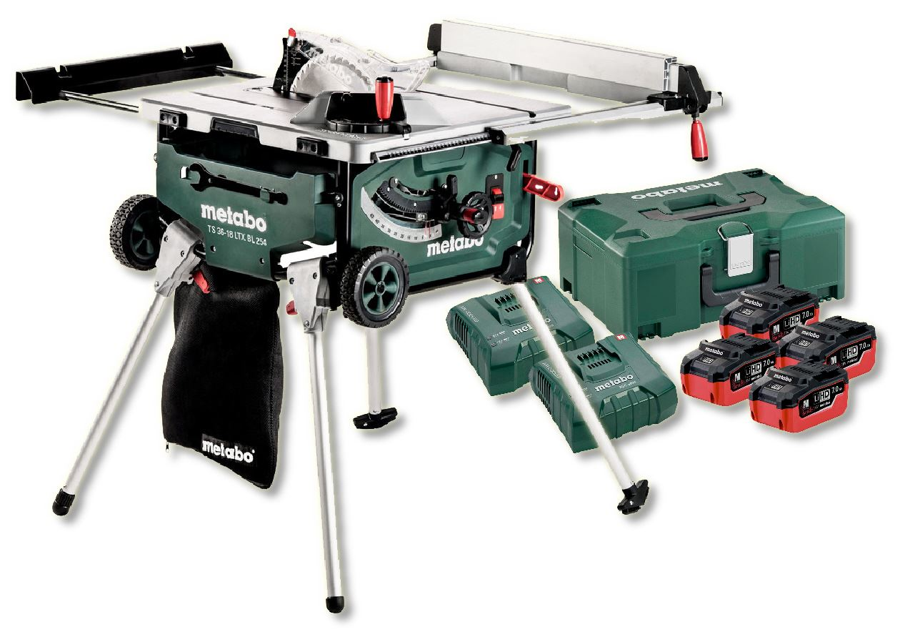 metabo ts 36 18 ltx bl 254 18v cordless table saw with stand 4 x li ion ebay. Black Bedroom Furniture Sets. Home Design Ideas