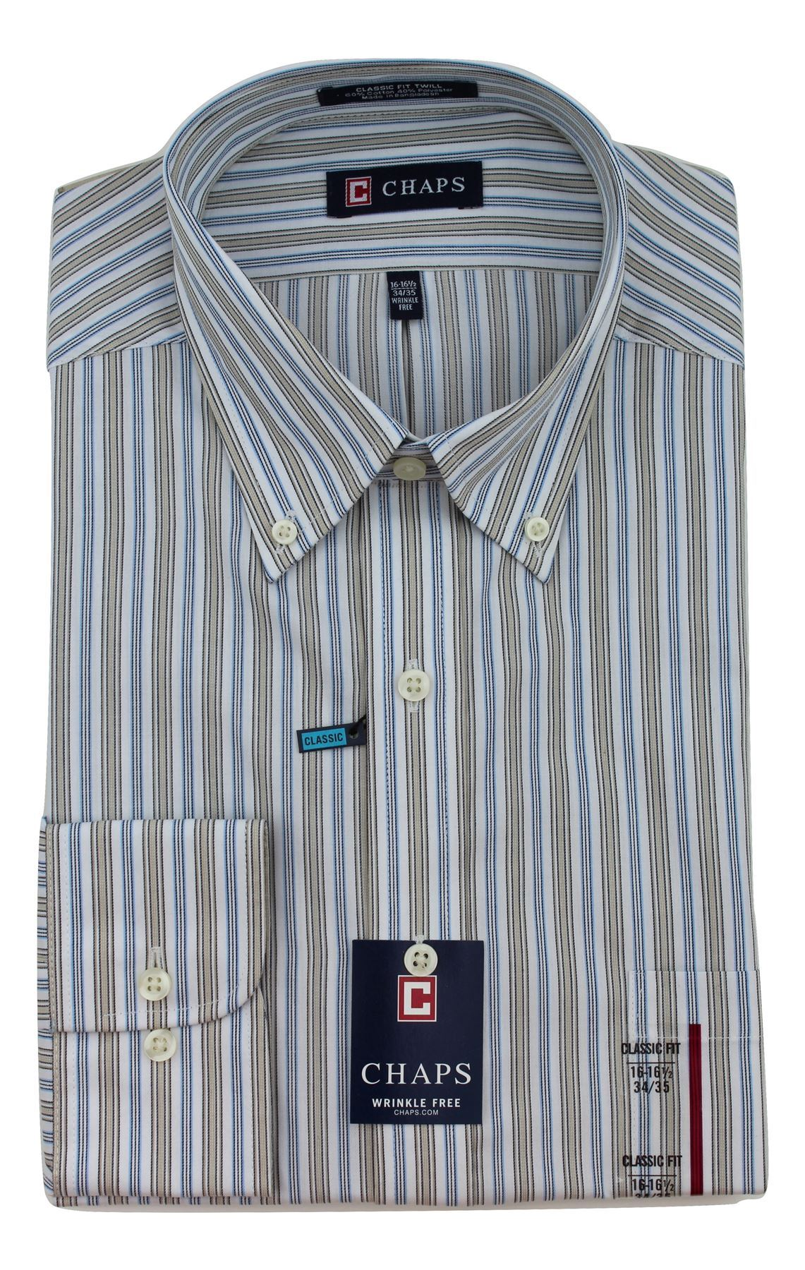 Easy Iron 25 Mg: Mens Shirt CHAPS Cotton Blend Easy Iron Long Sleeve